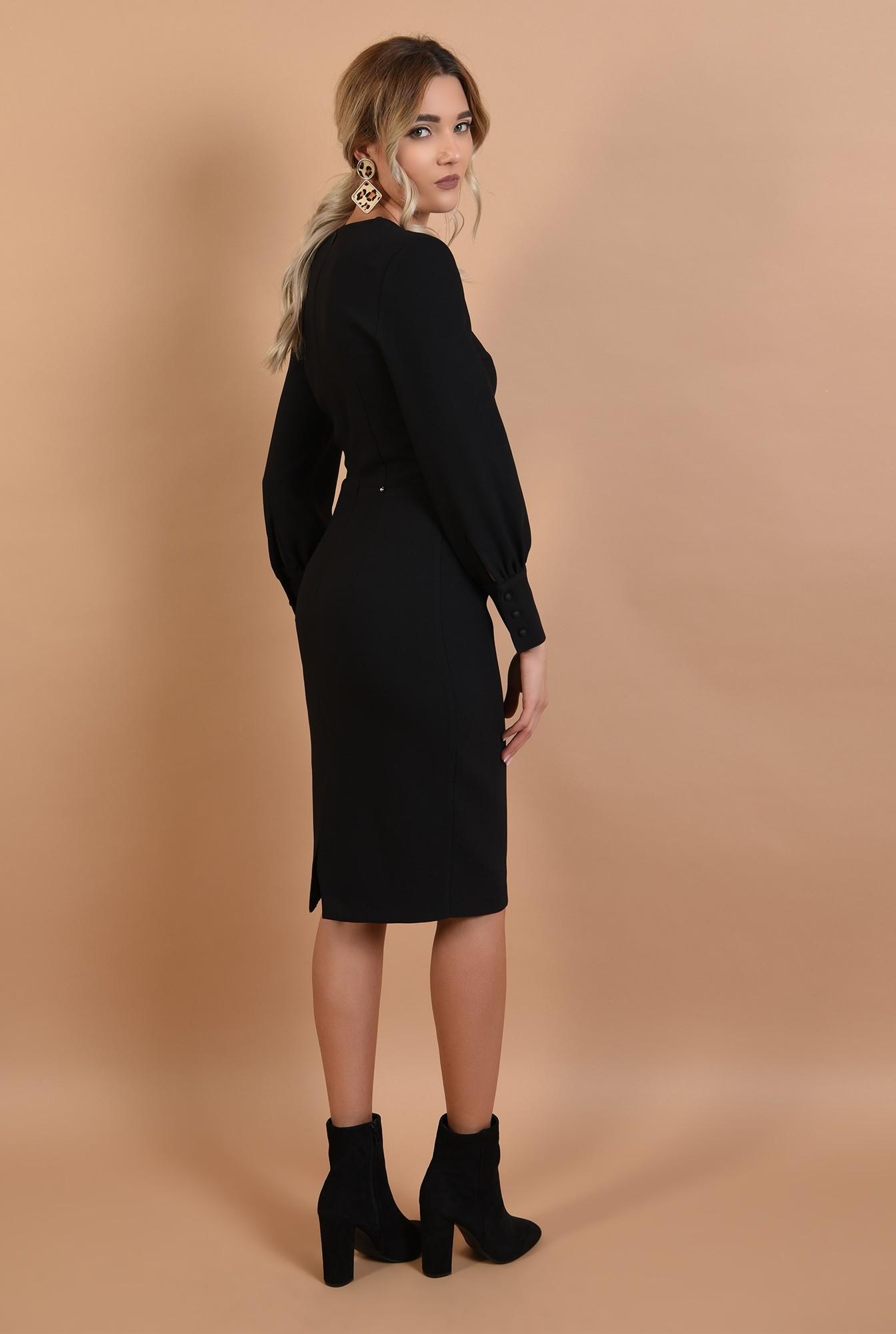 1 - rochie office, neagra, conica, lungime midi, mansete cu nasturi perla
