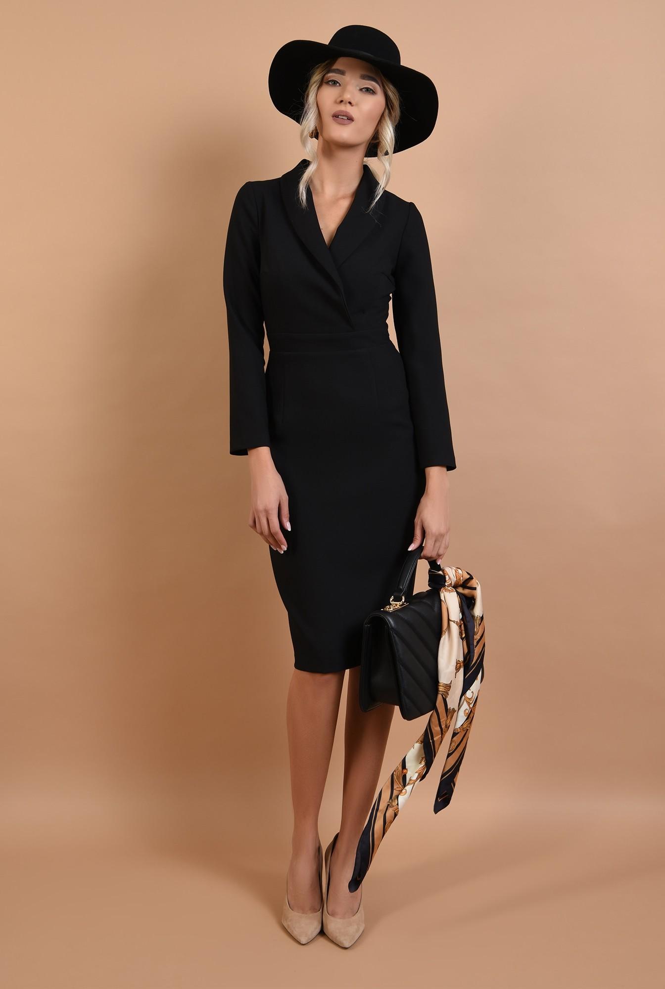 0 - rochie neagra, conica, office, Poema, cu revere sal