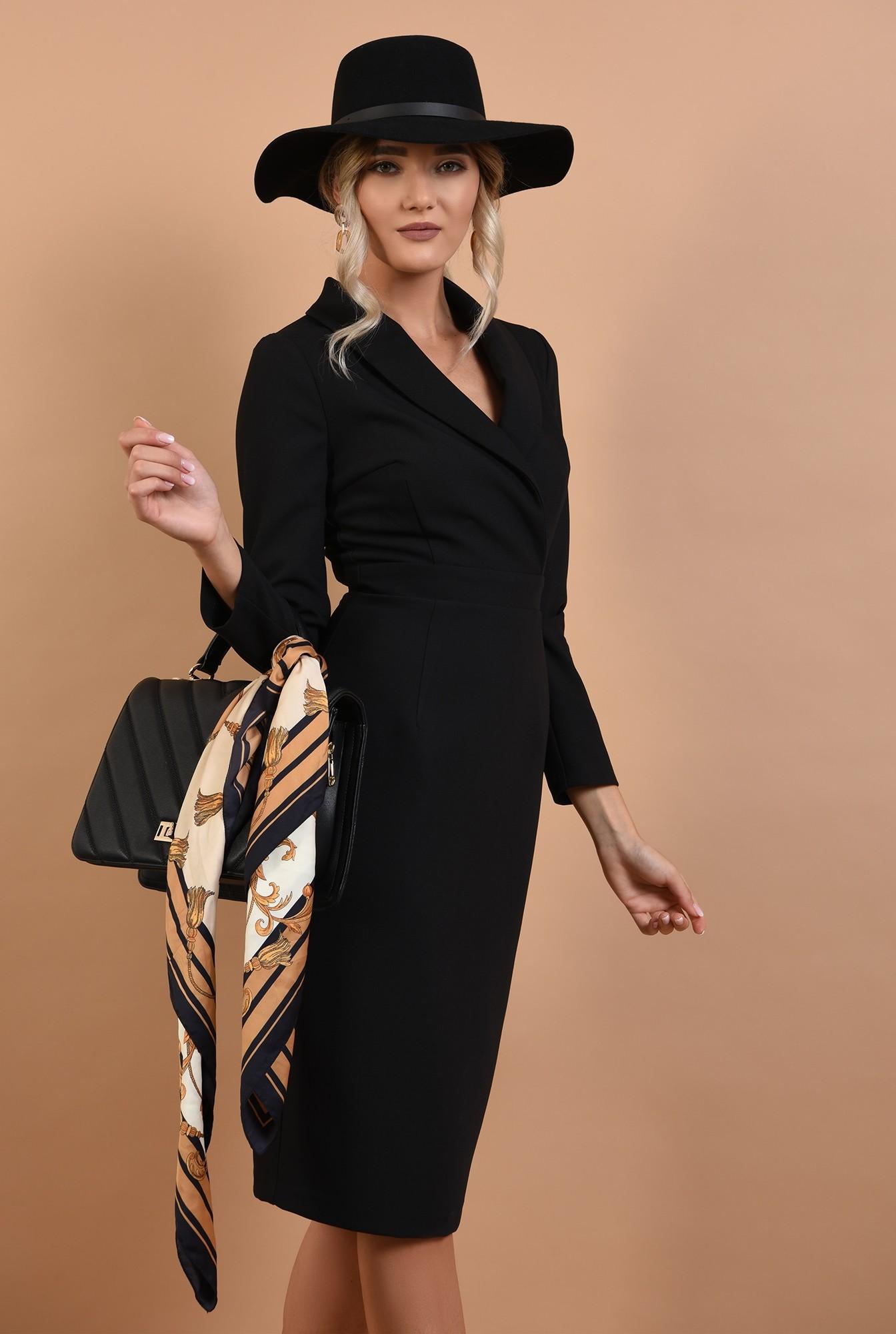 2 - rochie neagra, conica, office, Poema, cu revere sal