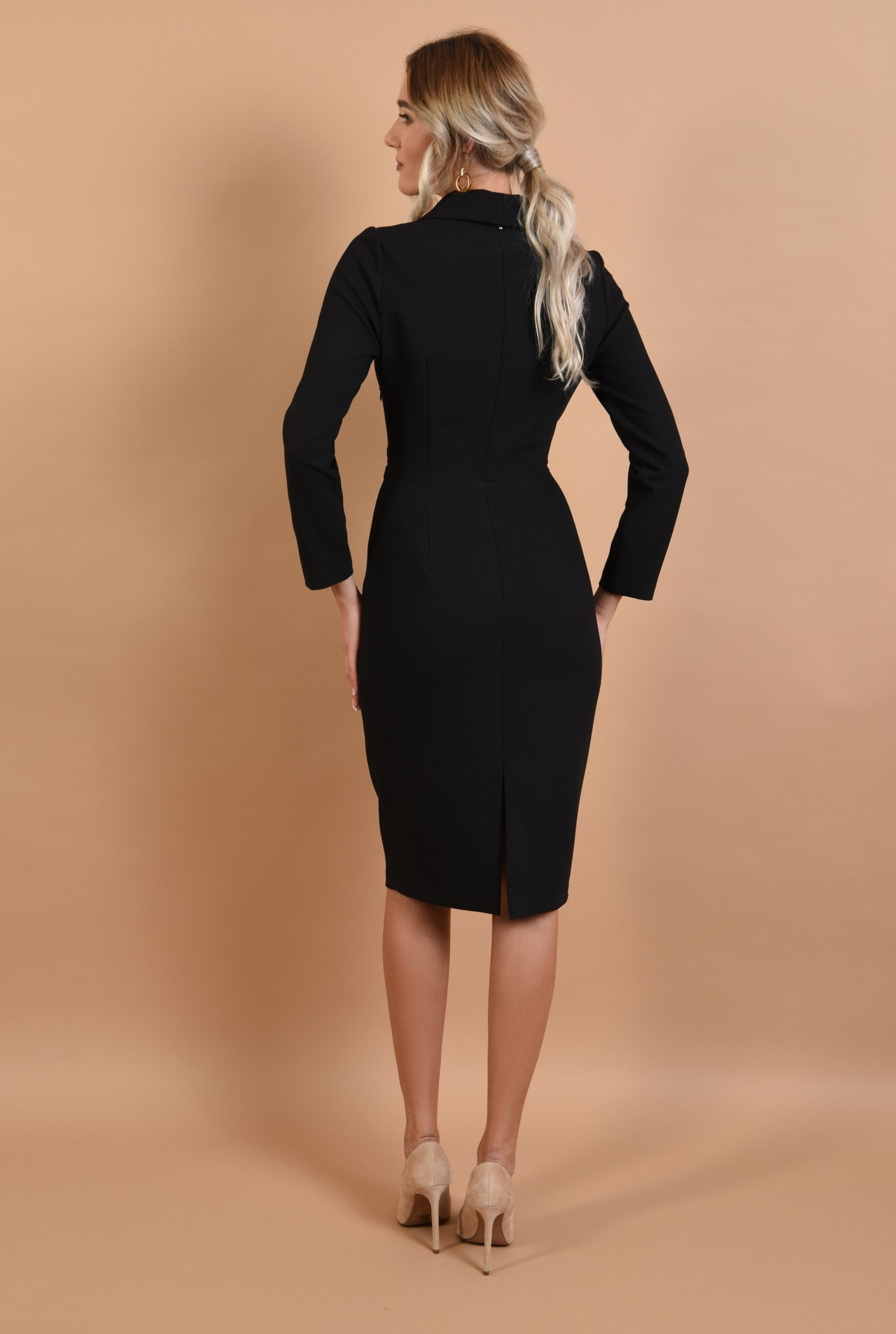 1 - rochie neagra, conica, office, Poema, cu revere sal