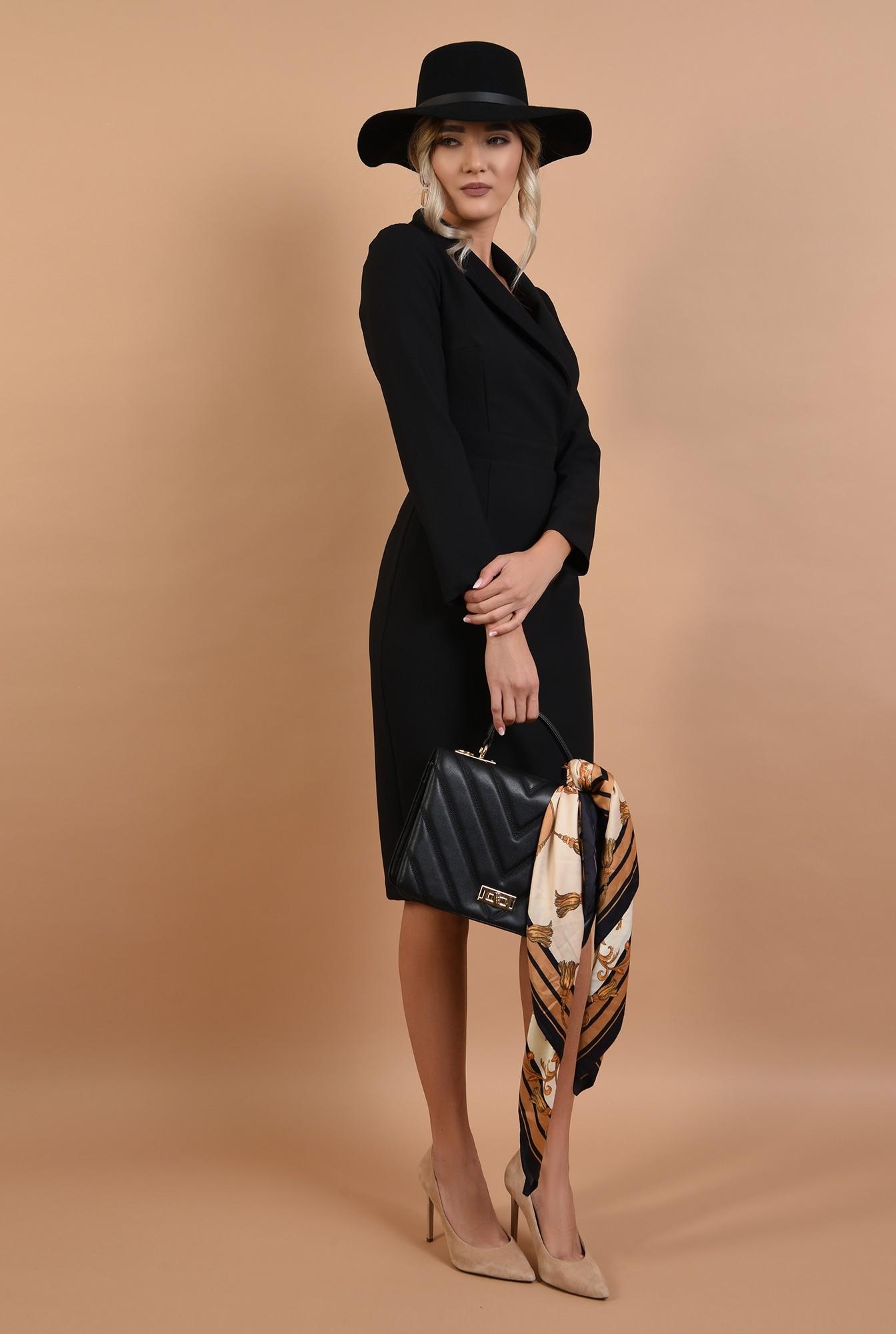 3 - rochie neagra, conica, office, Poema, cu revere sal