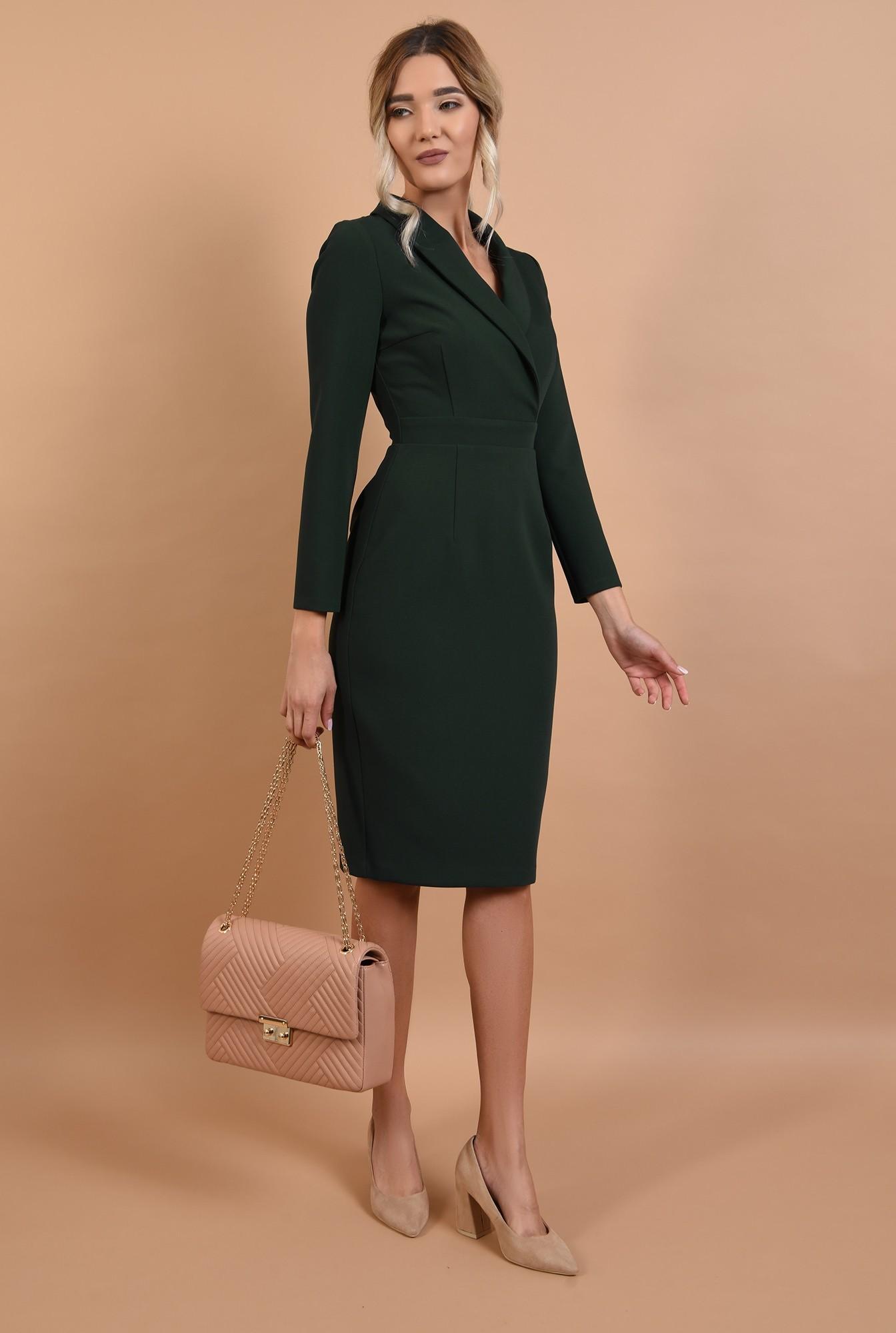 3 - rochie office, verde, cu revere, cu maneci lungi, Poema
