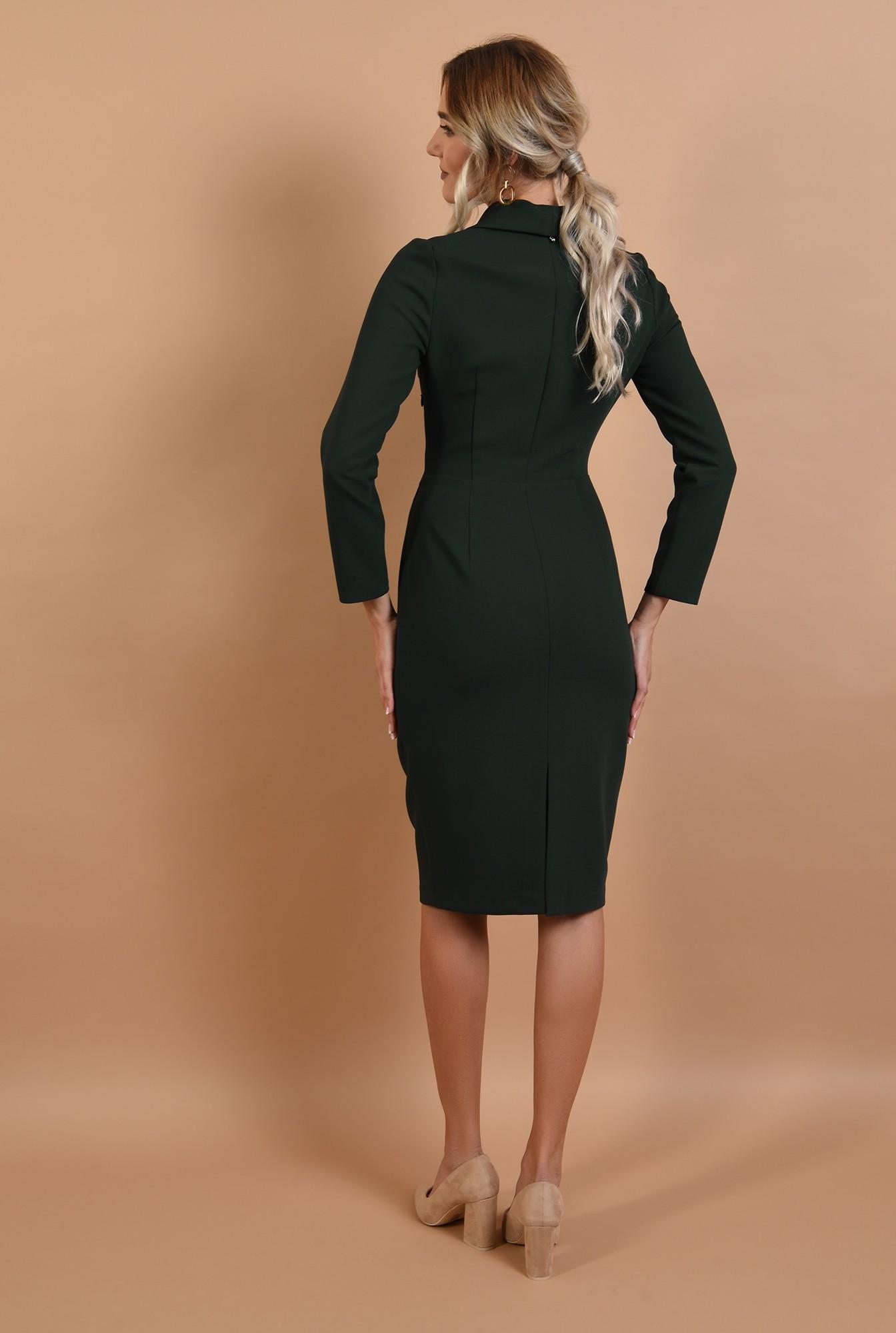 1 - rochie office, verde, cu revere, cu maneci lungi, Poema