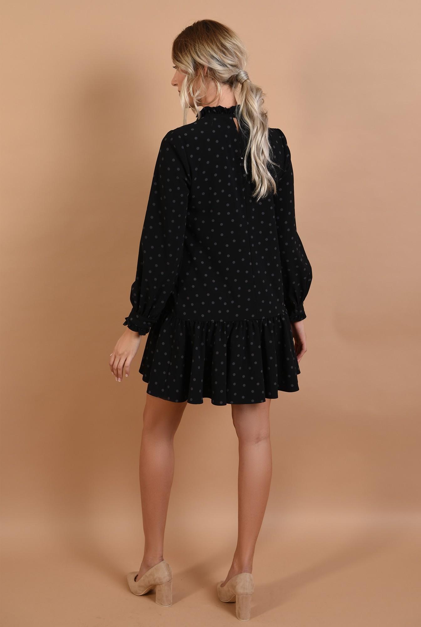 1 - 360 - rochie neagra, lejera, cu volan, maneci bufante, imprimeu buline