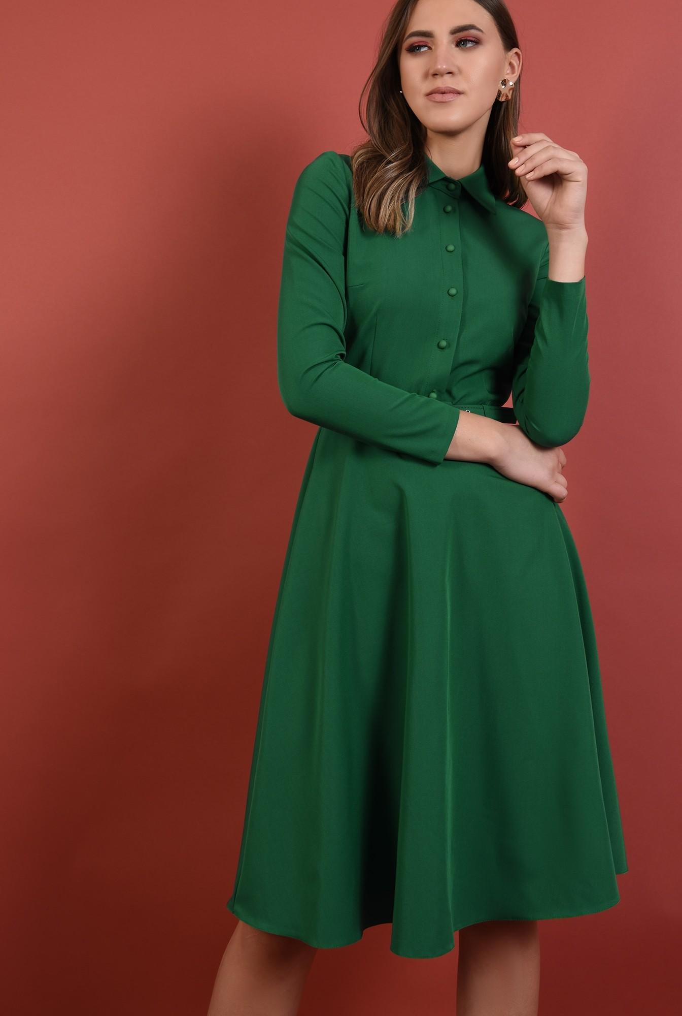 0 - 360 - rochie verde, office, midi, croi evazat, maneci lungi, curea, Poema