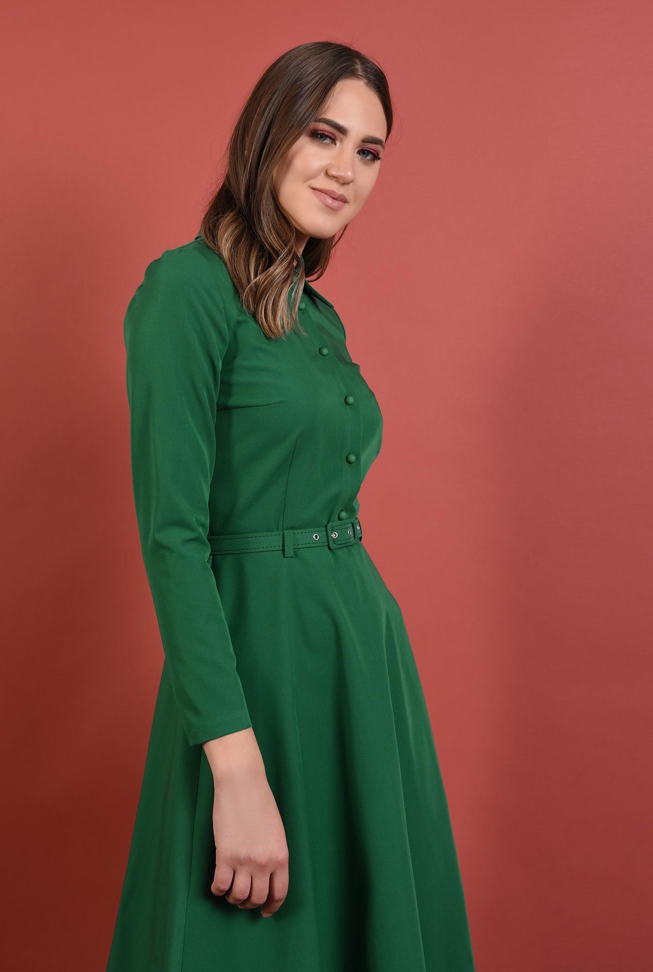 2 - 360 - rochie verde, office, midi, croi evazat, maneci lungi, curea, Poema