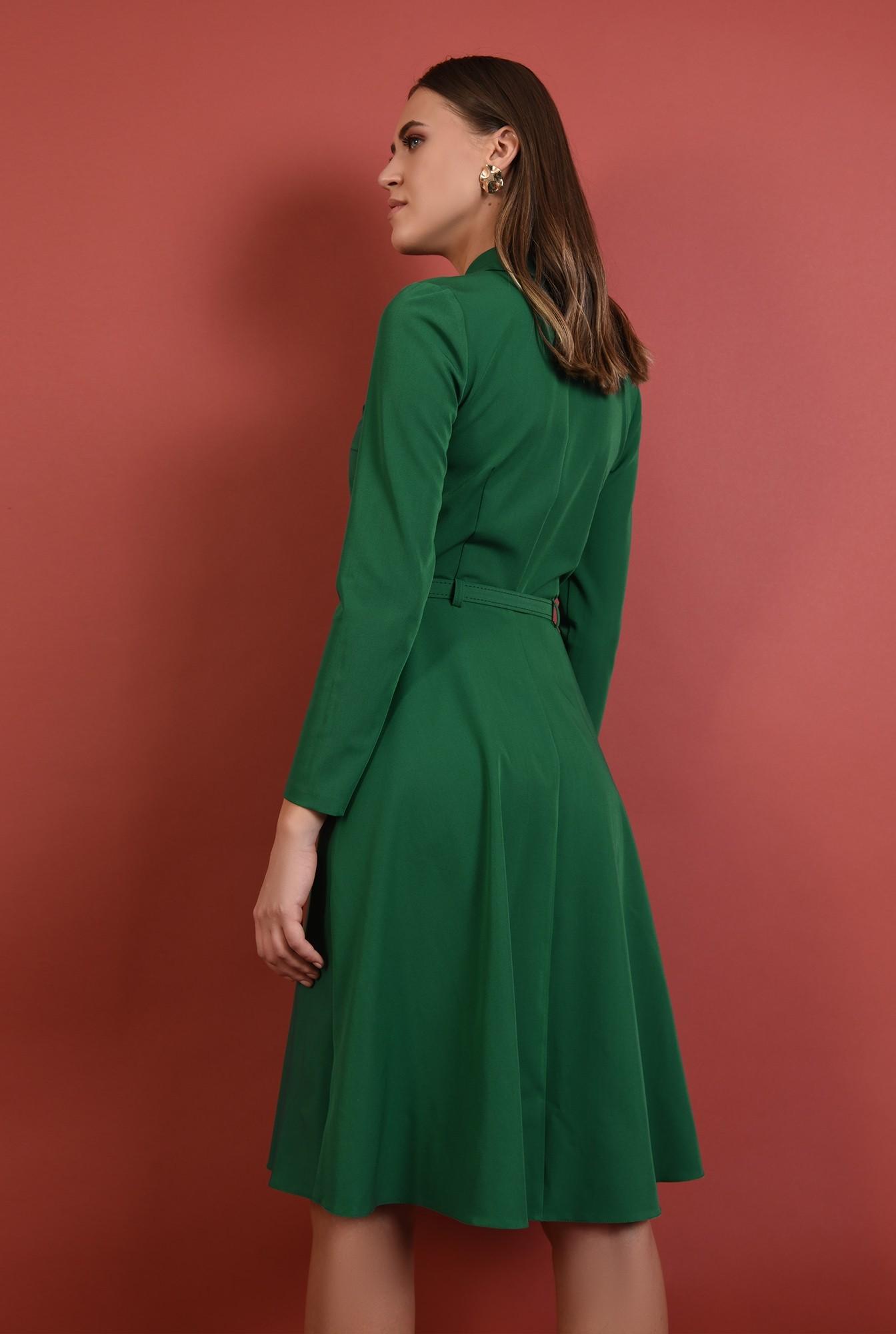 1 - 360 - rochie verde, office, midi, croi evazat, maneci lungi, curea, Poema