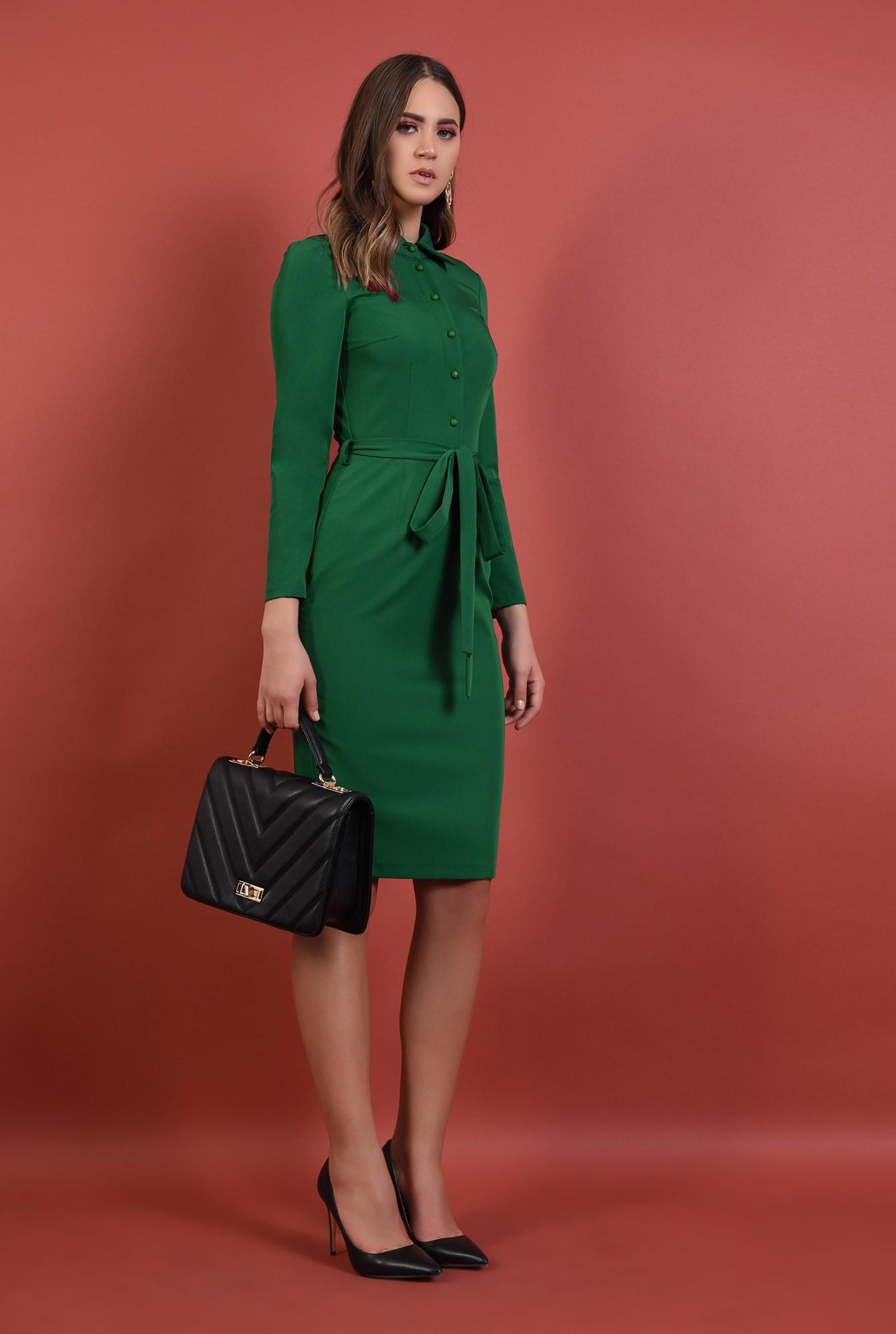 3 - rochie midi, conica, verde, cu nasturi, cu cordon, Poema