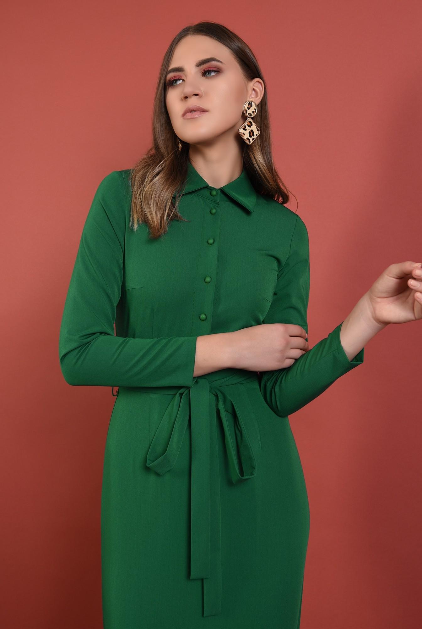 2 - rochie midi, conica, verde, cu nasturi, cu cordon, Poema