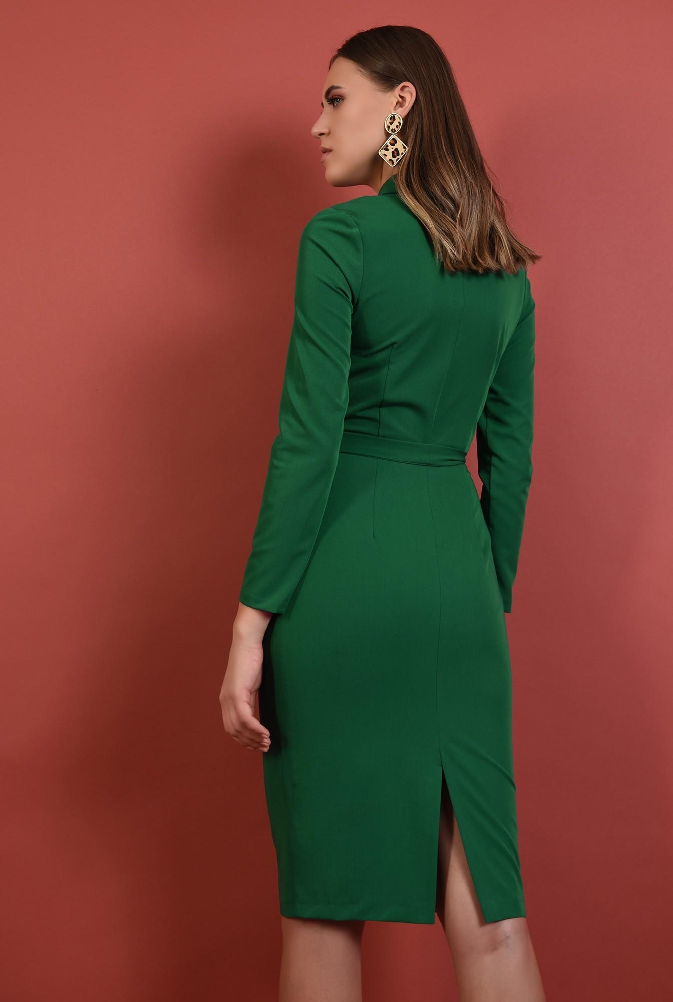 1 - rochie midi, conica, verde, cu nasturi, cu cordon, Poema