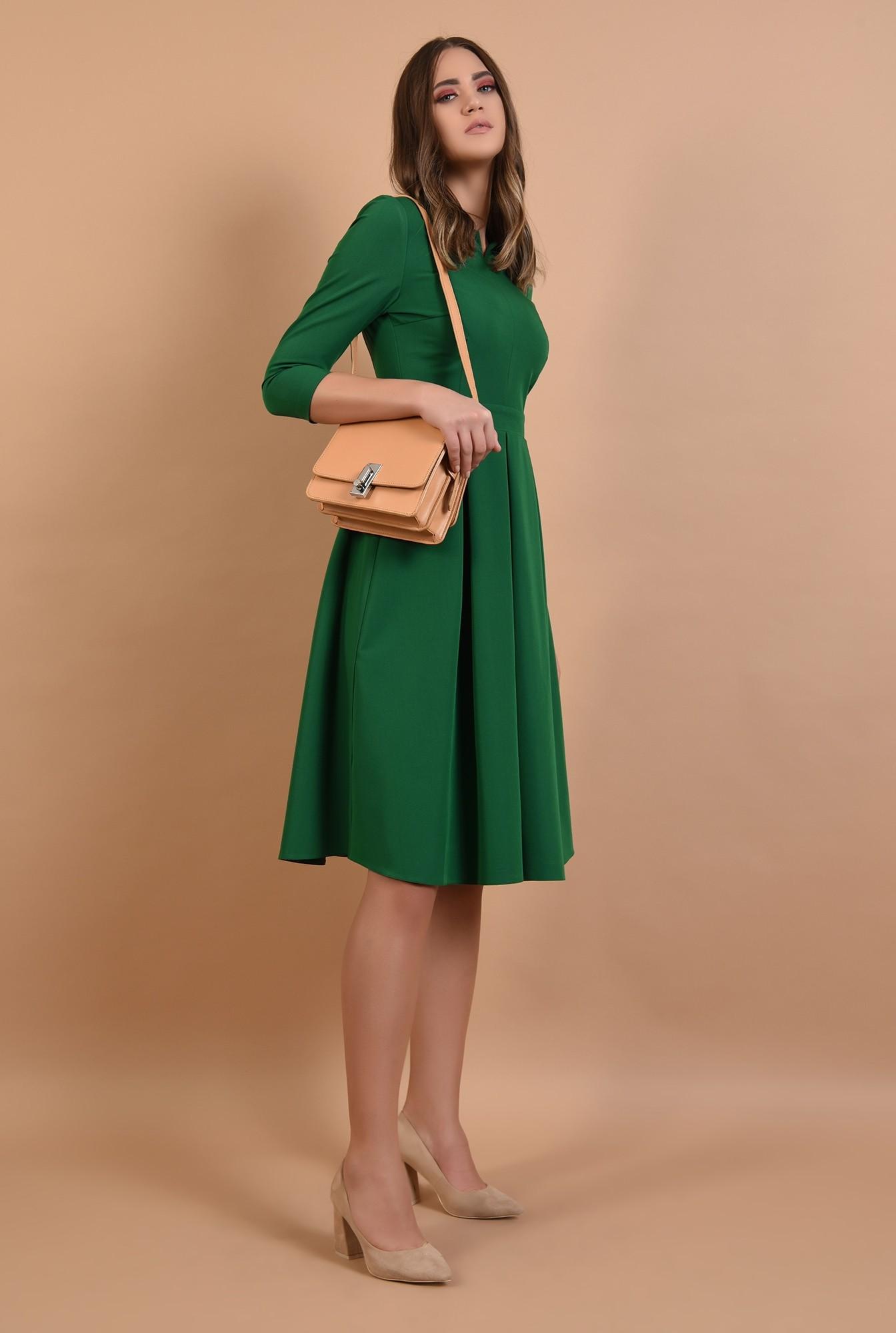 3 - rochie midi, evazata, verde, cu pliseuri, fenta la decolteu, Poema