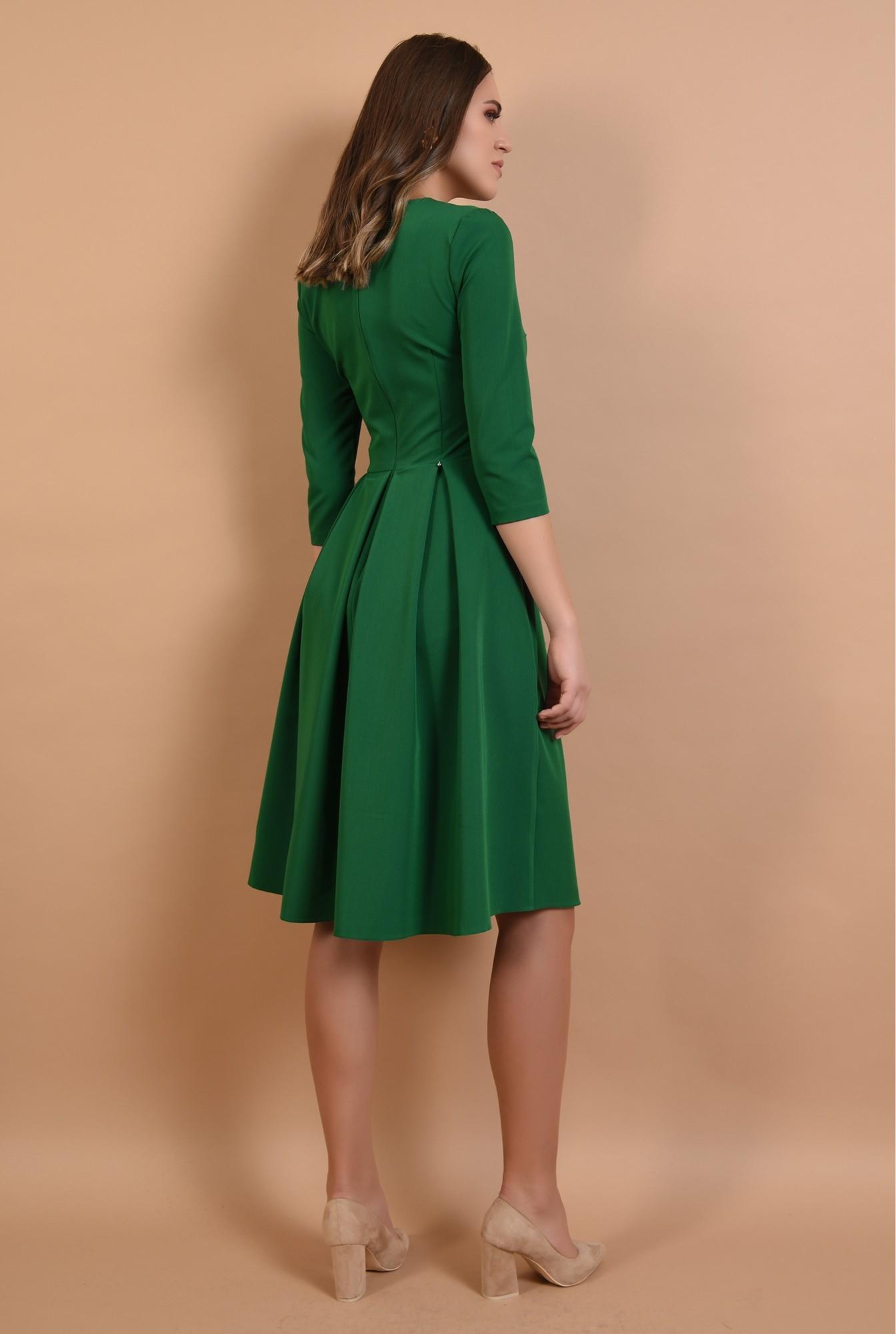 1 - rochie midi, evazata, verde, cu pliseuri, fenta la decolteu, Poema