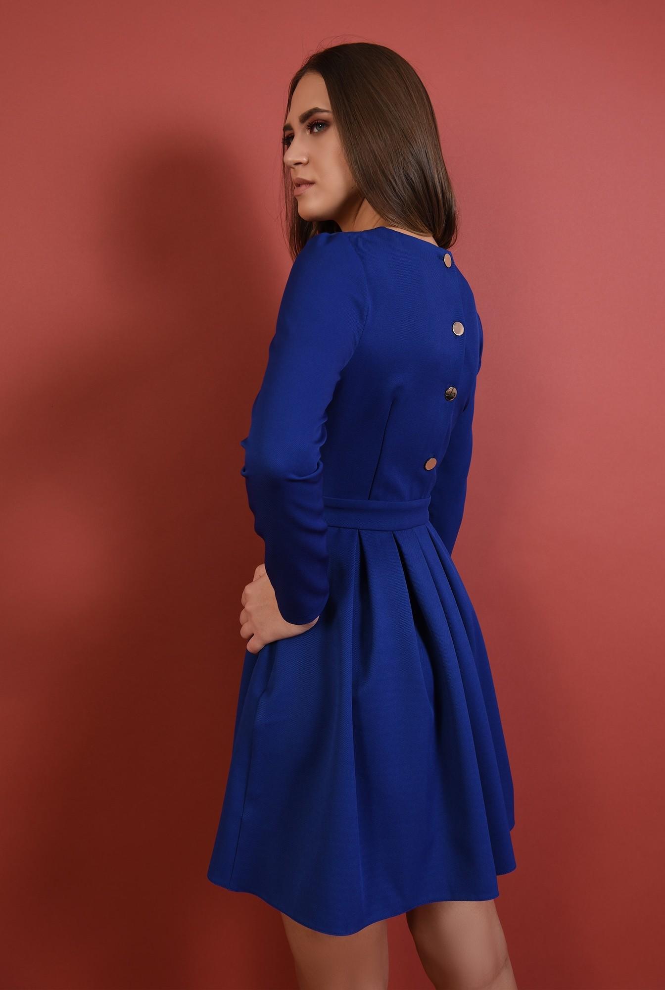 1 - 360 - rochie albastra, cu pliuri, nasturi aurii la spate, croi evazat, Poema