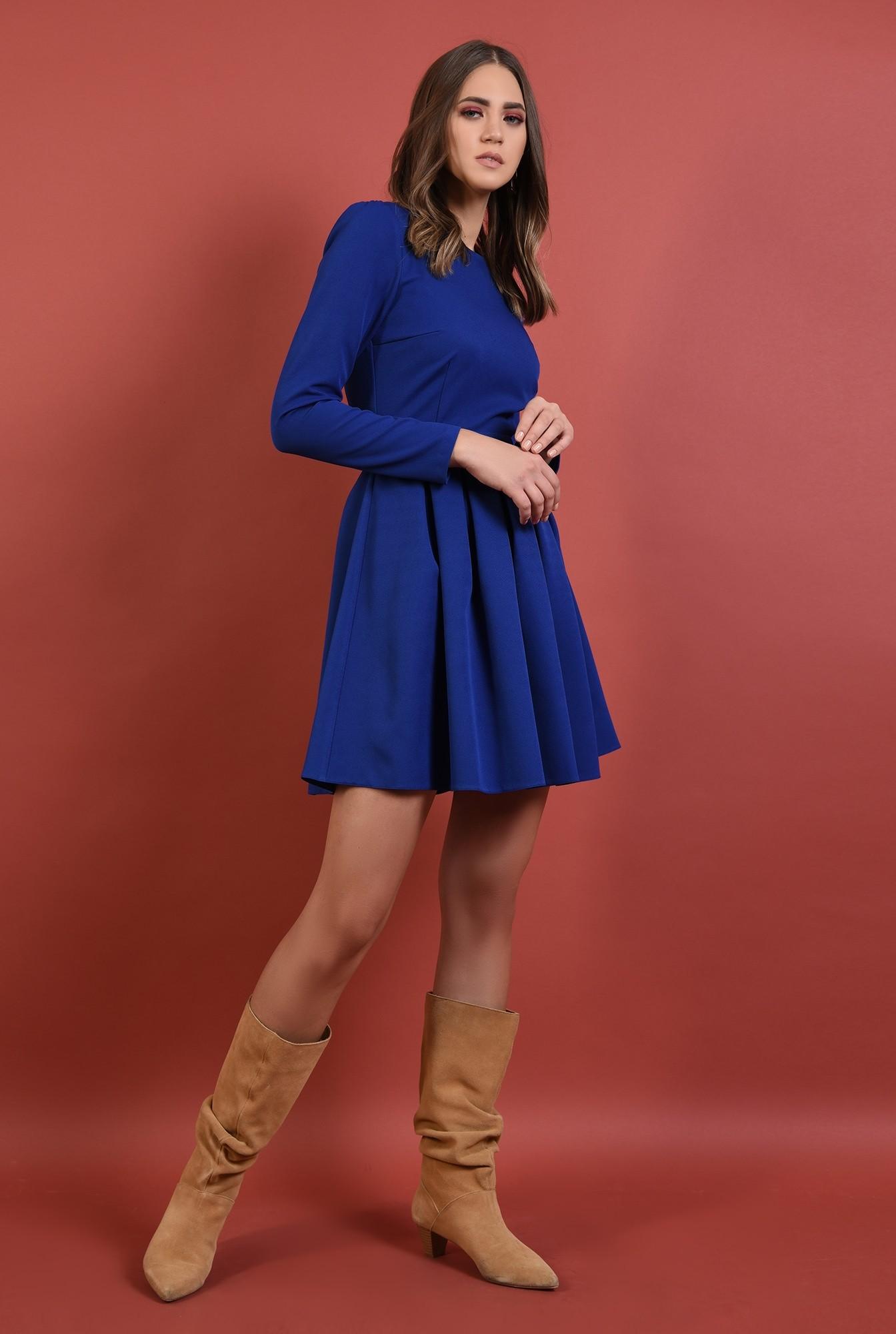 3 - 360 - rochie albastra, cu pliuri, nasturi aurii la spate, croi evazat, Poema