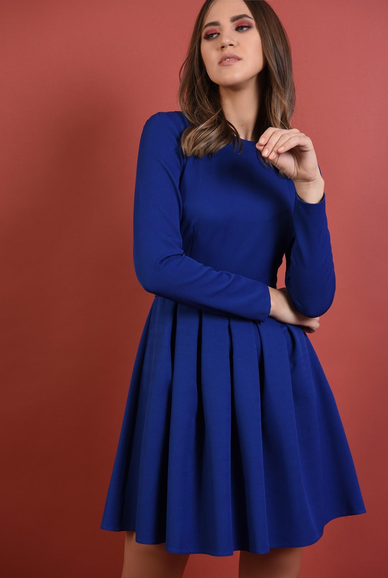2 - 360 - rochie albastra, cu pliuri, nasturi aurii la spate, croi evazat, Poema