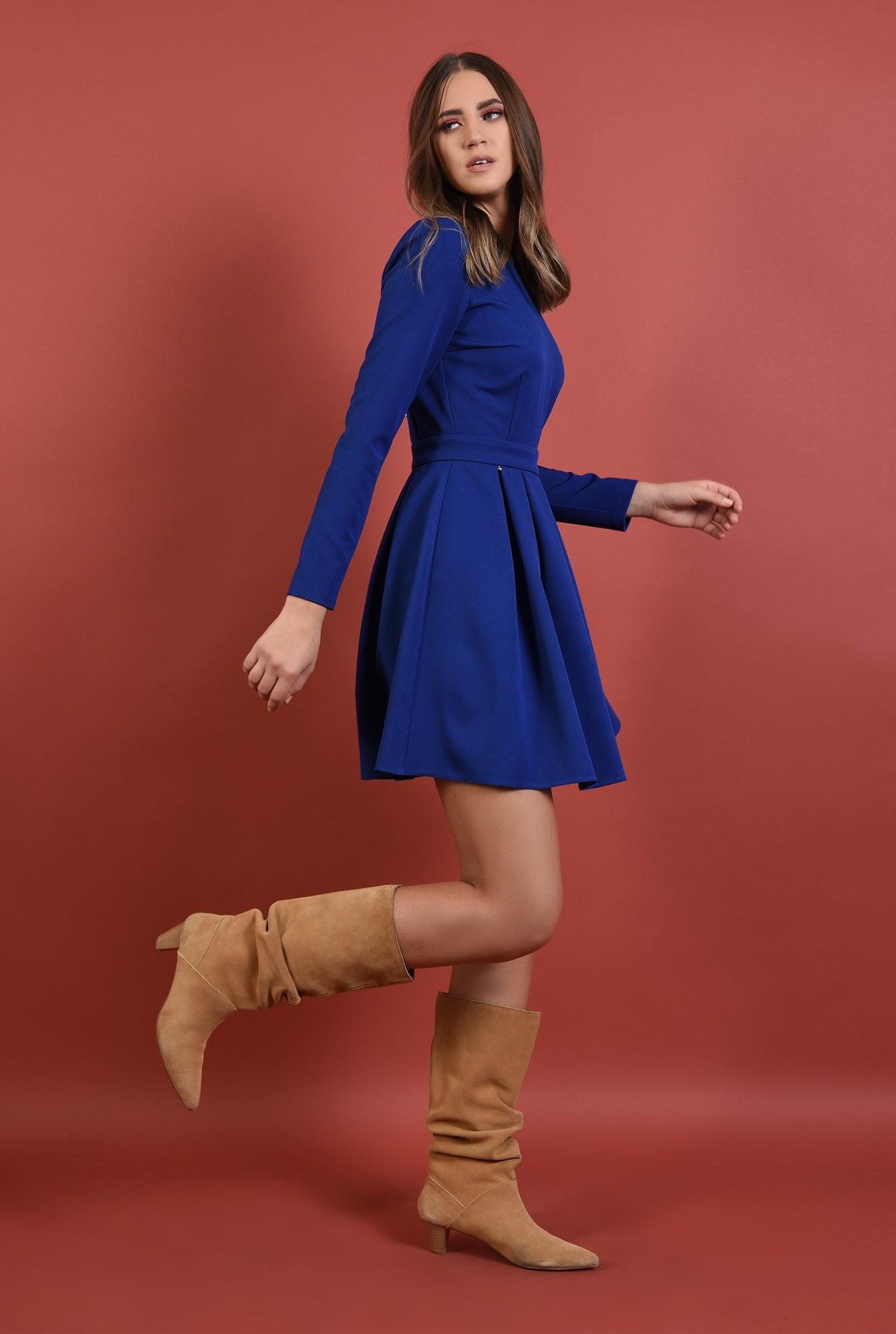 0 - 360 - rochie albastra, cu pliuri, nasturi aurii la spate, croi evazat, Poema