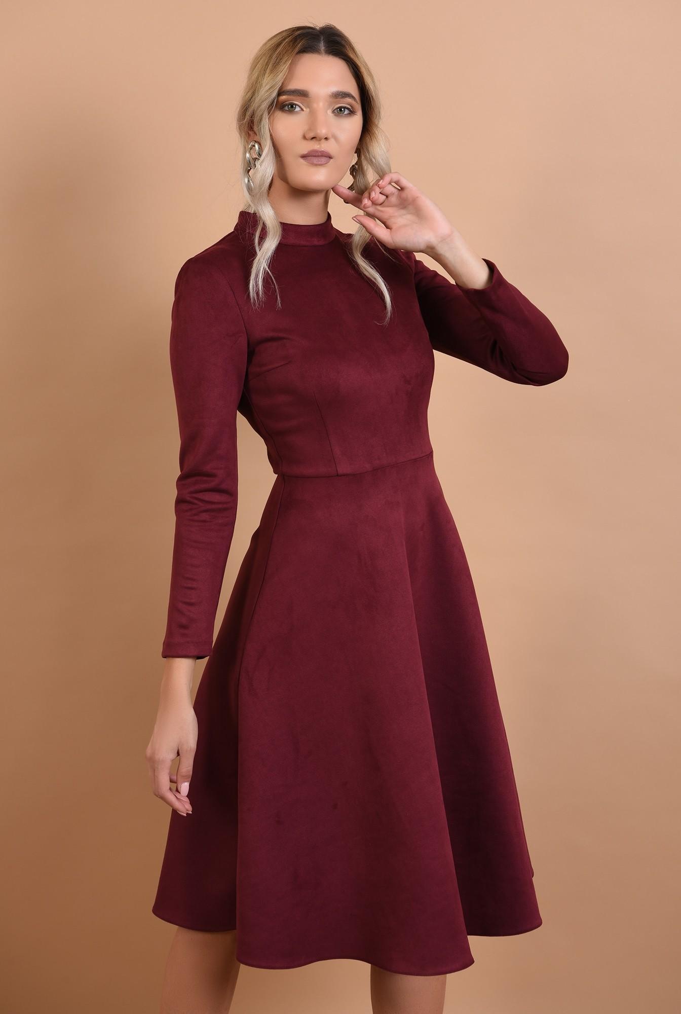 2 - rochie casual, clos, piele intoarsa, guler mic aplicat