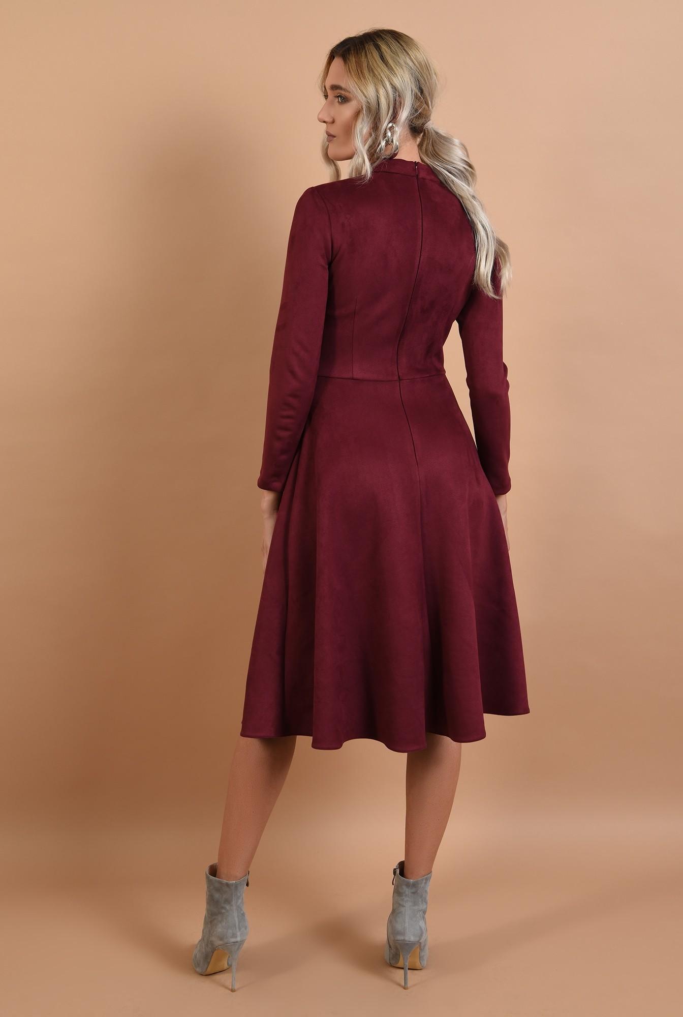 1 - rochie casual, clos, piele intoarsa, guler mic aplicat
