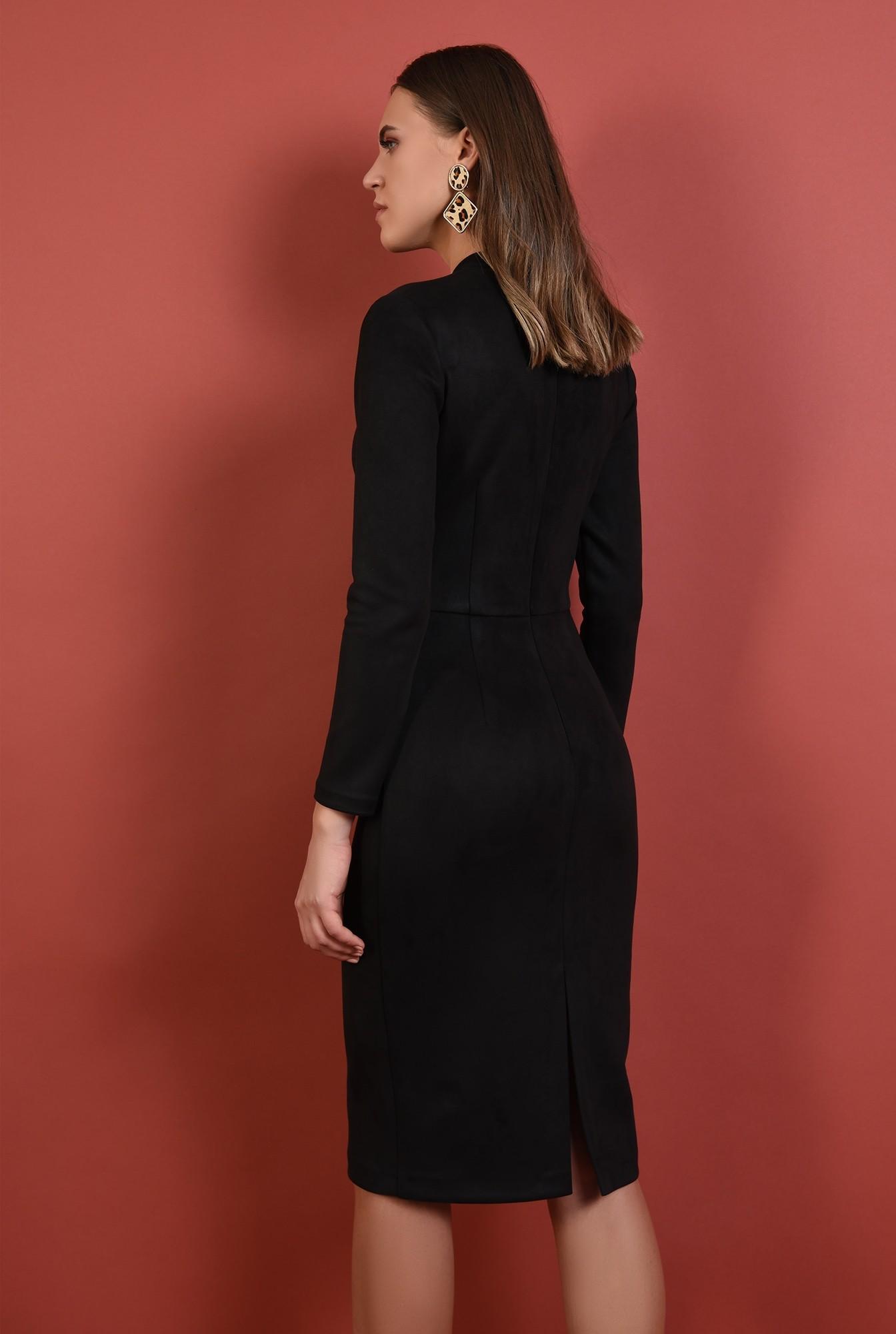 1 - 360 - rochie neagra, midi, stretch, maneci lungi, Poema