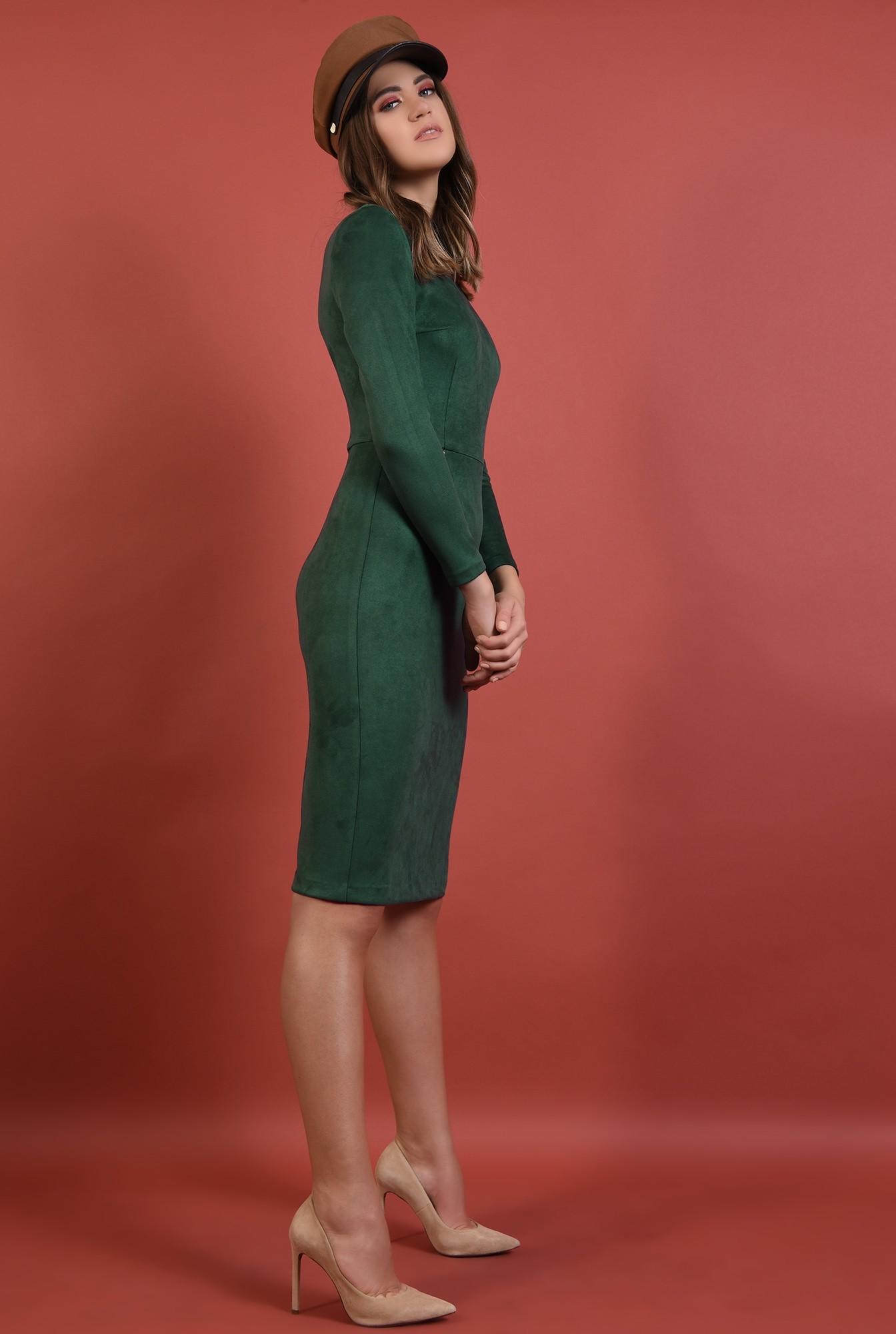 3 - rochie verde, casual, conica, stretch, maneci lungi
