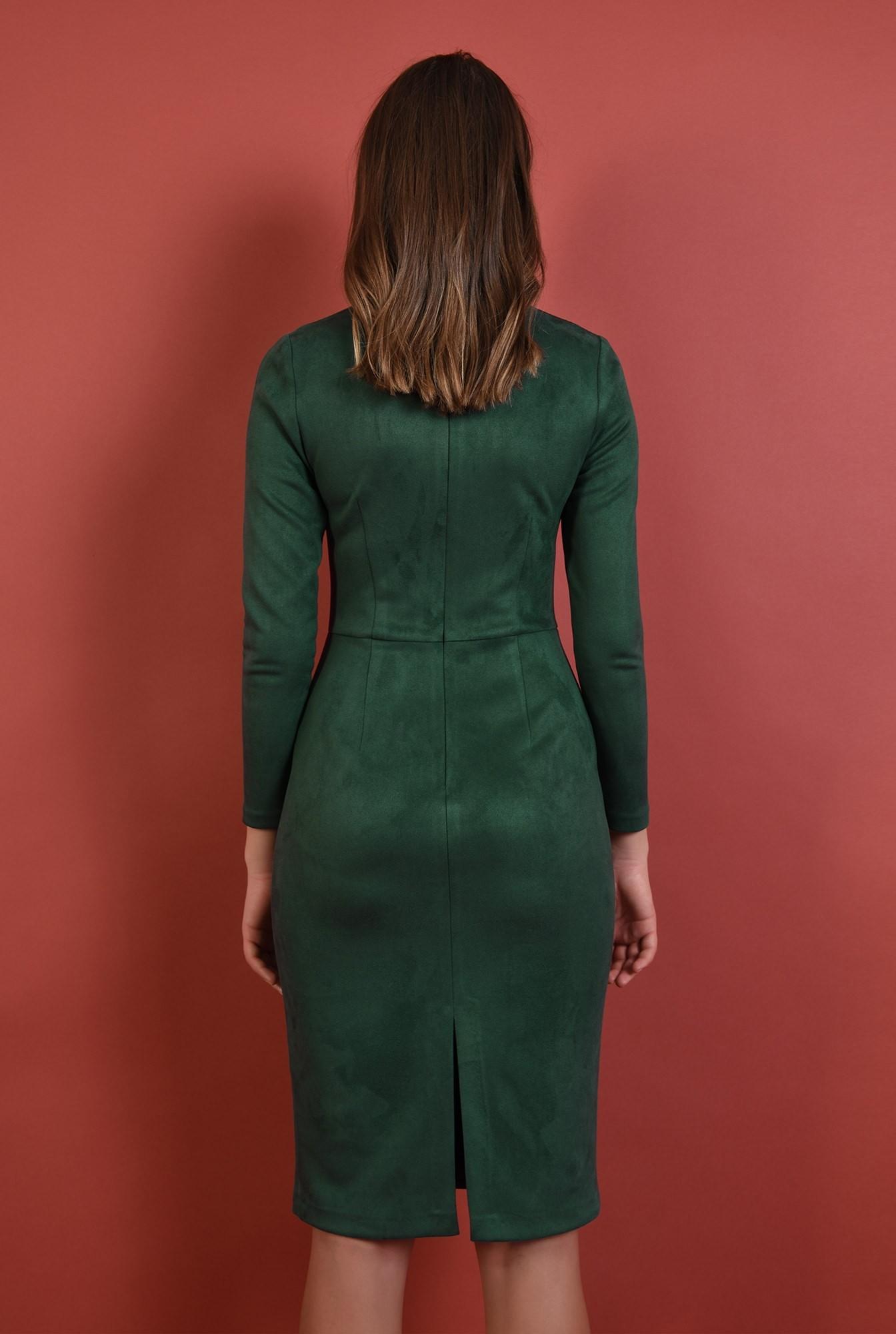 1 - rochie verde, casual, conica, stretch, maneci lungi