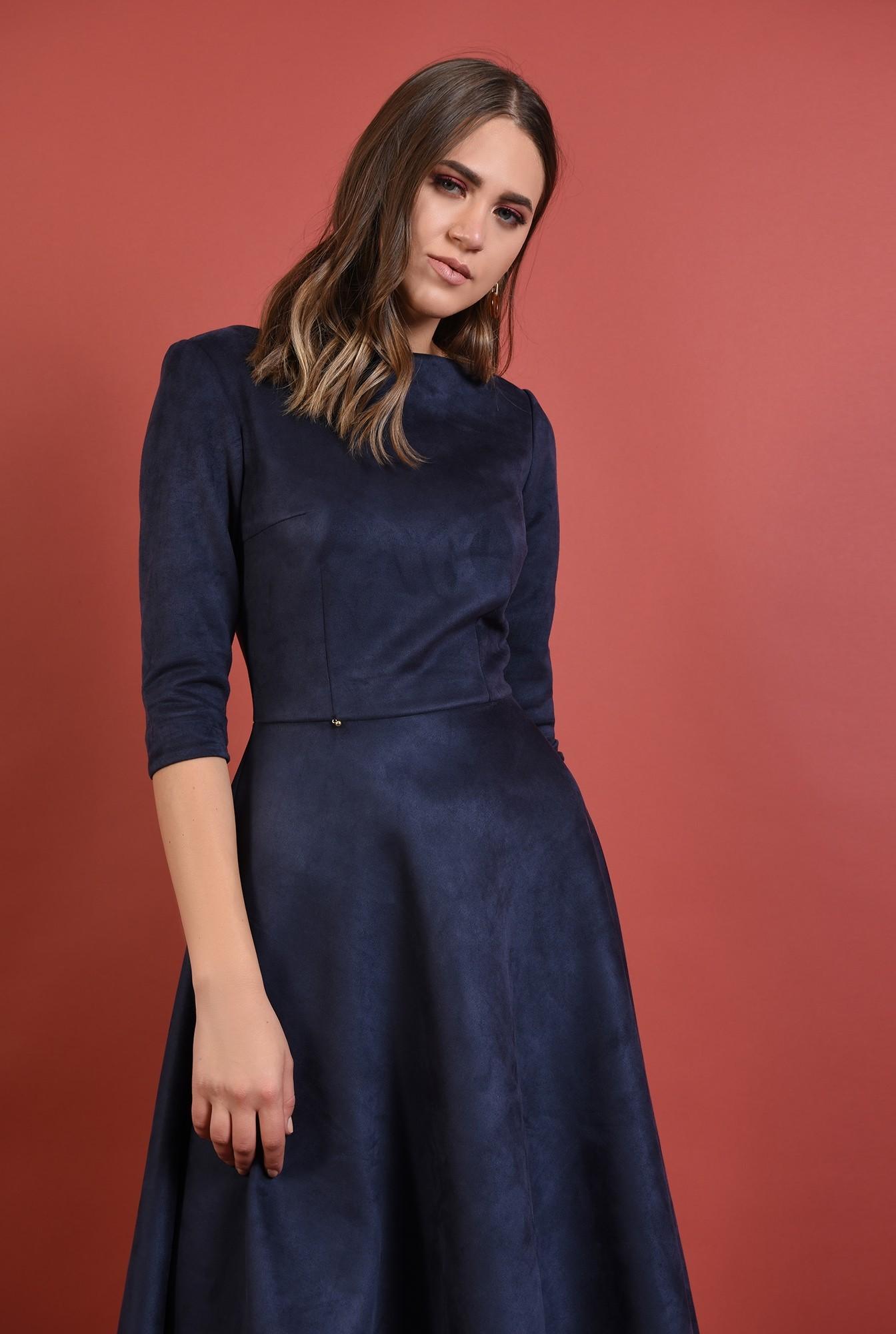 2 - rochie casual, midi, evazata, bleumarin, nasturi aurii