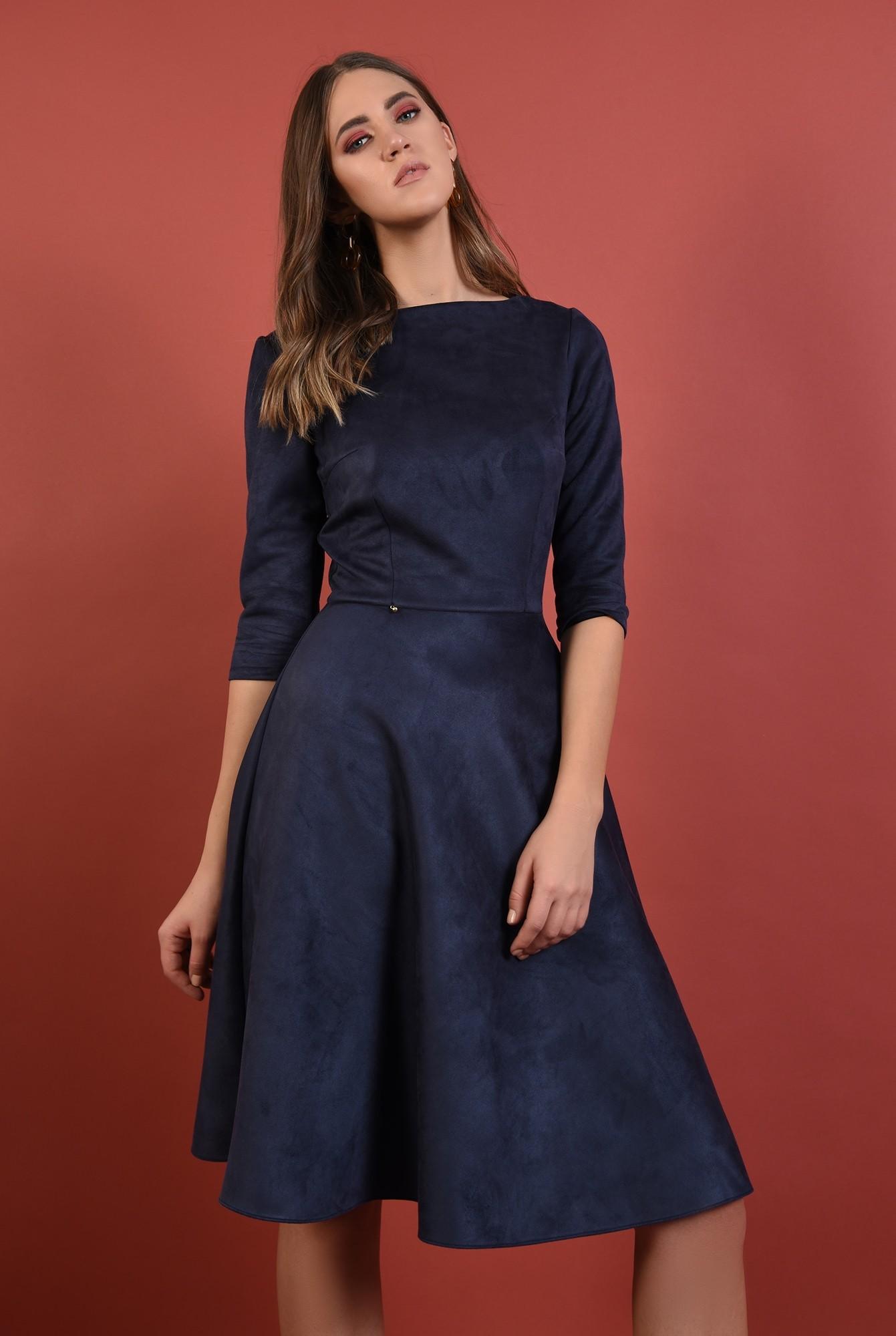 0 - rochie casual, midi, evazata, bleumarin, nasturi aurii