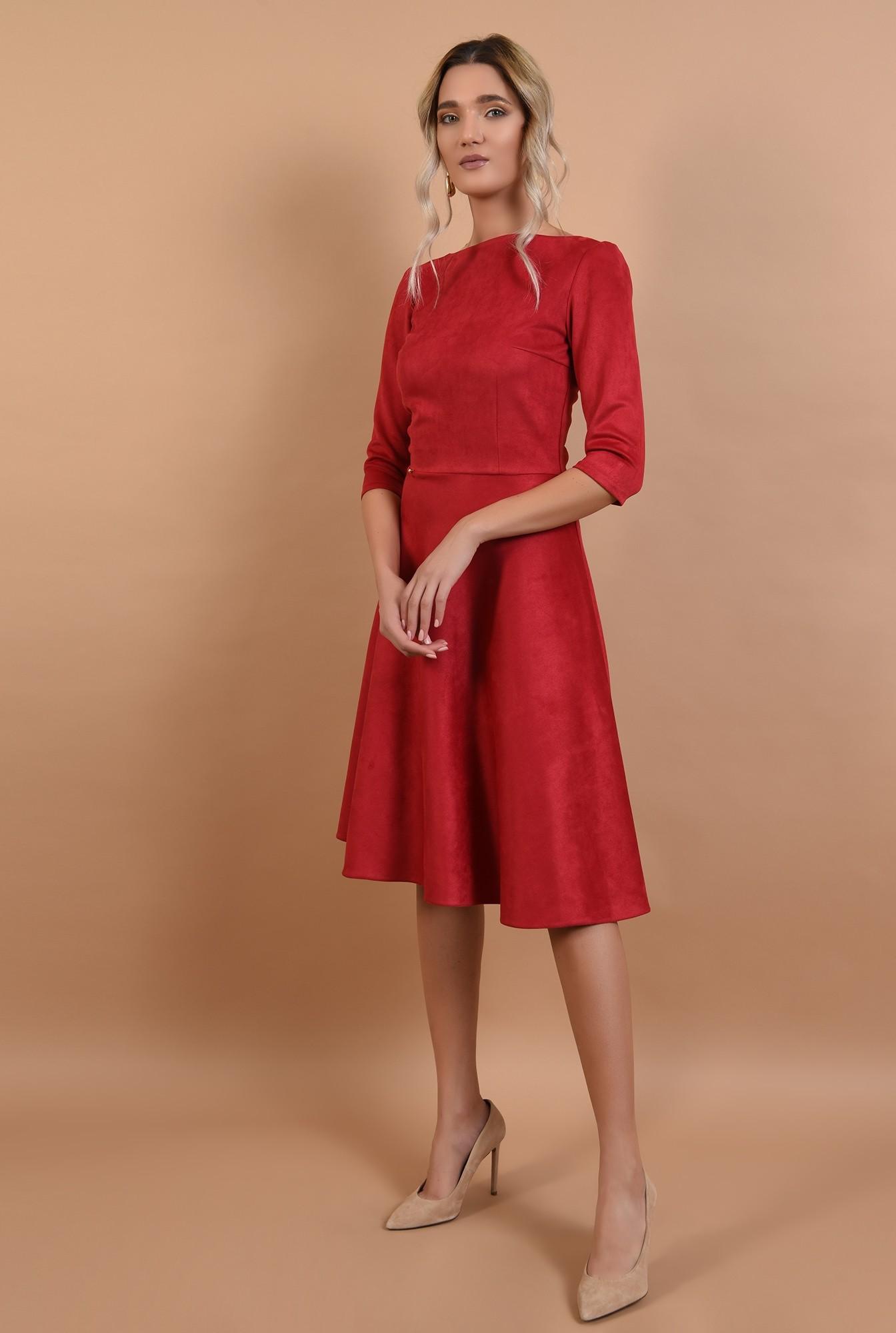 3 - rochie rosie, din piele intoarsa, maneci midi, nasturi aurii la spate, Poema