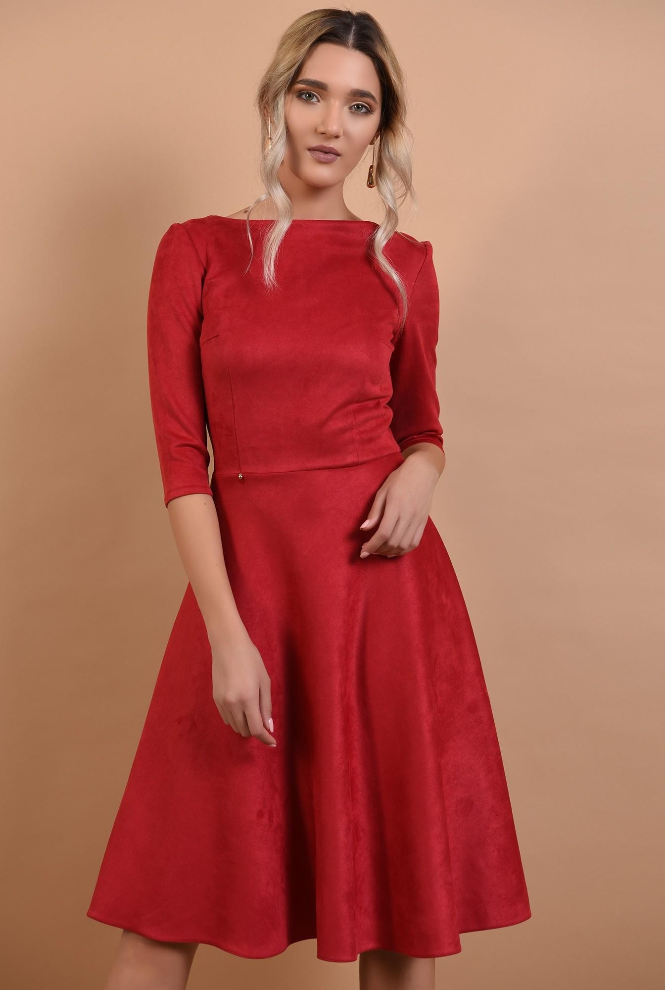 2 - rochie rosie, din piele intoarsa, maneci midi, nasturi aurii la spate, Poema