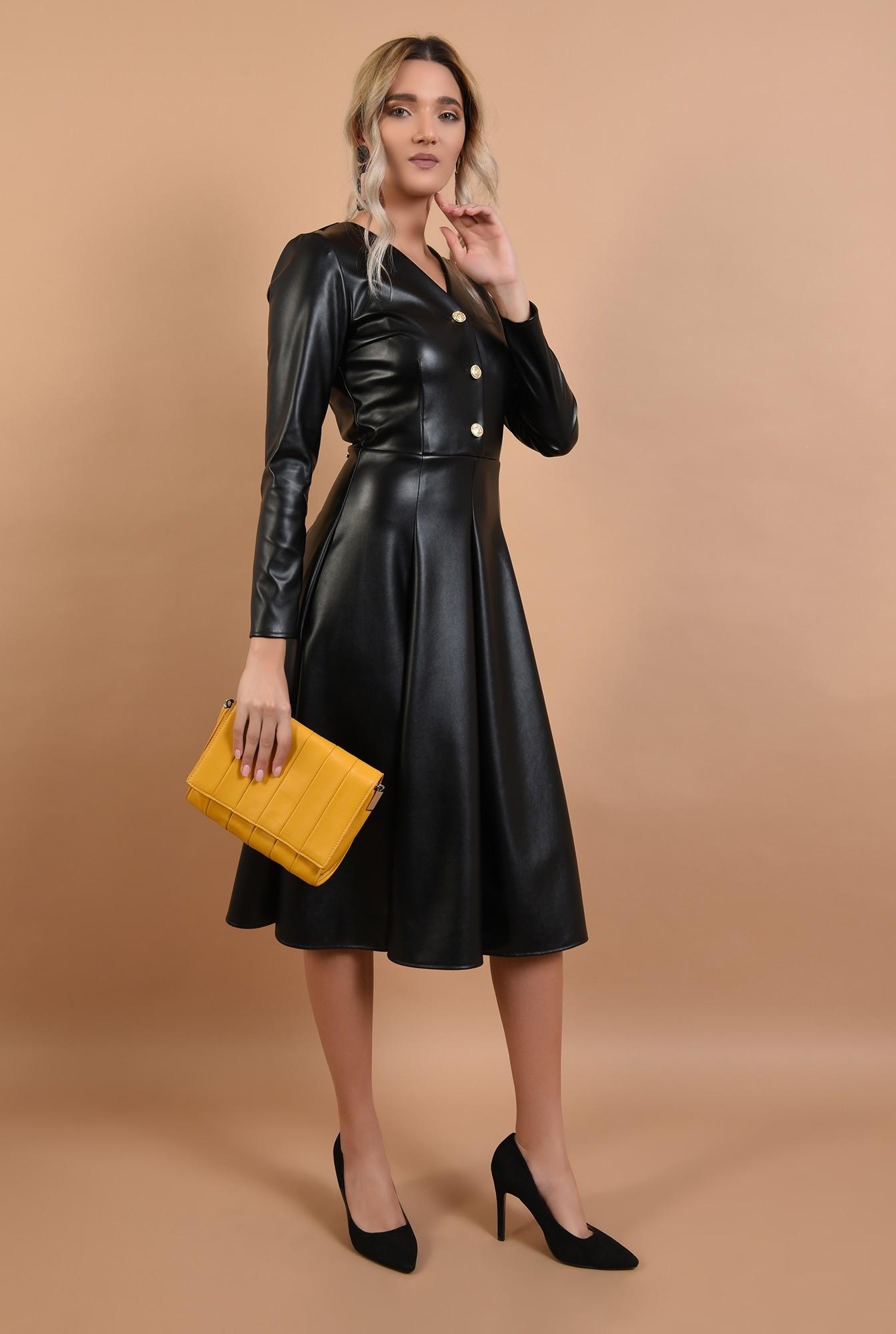 3 - rochie casual, evazata, neagra, din piele, midi, Poema