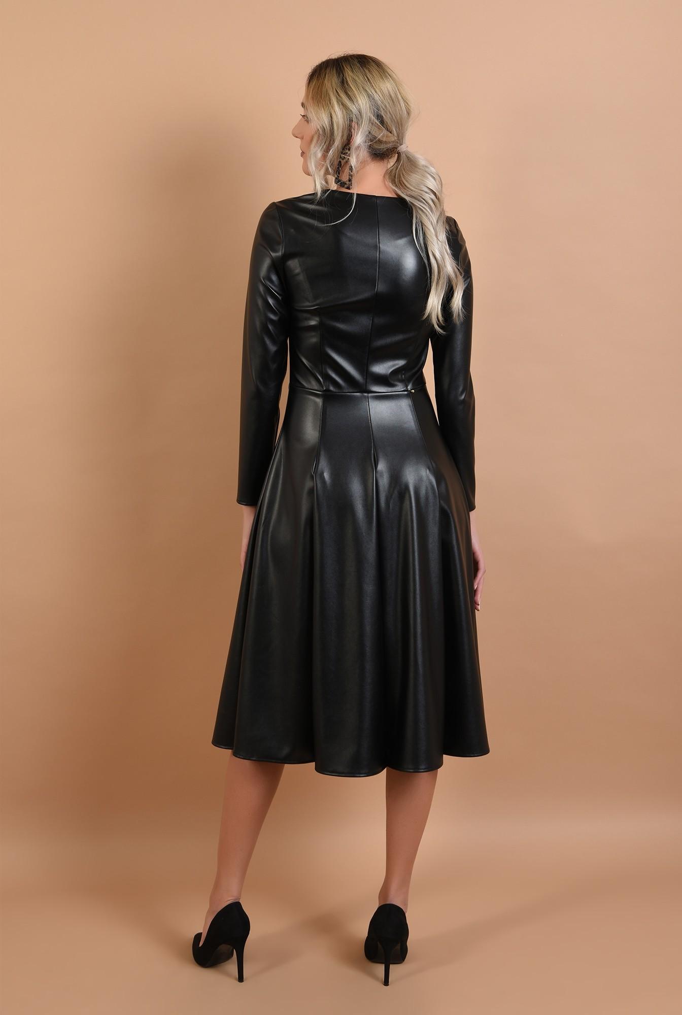 1 - rochie casual, evazata, neagra, din piele, midi, Poema