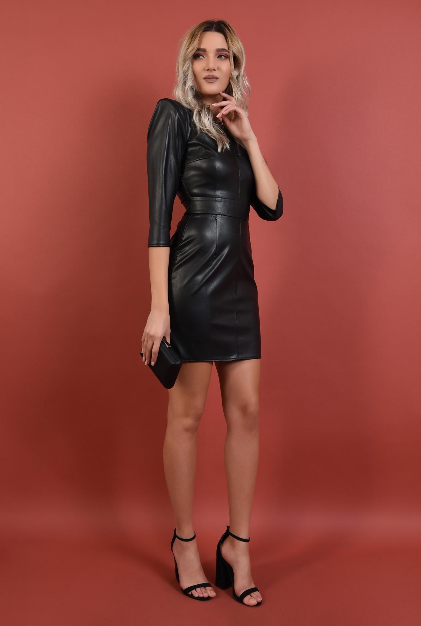 3 - rochie neagra, cambrata, piele ecologica, umeri structurati, Poema