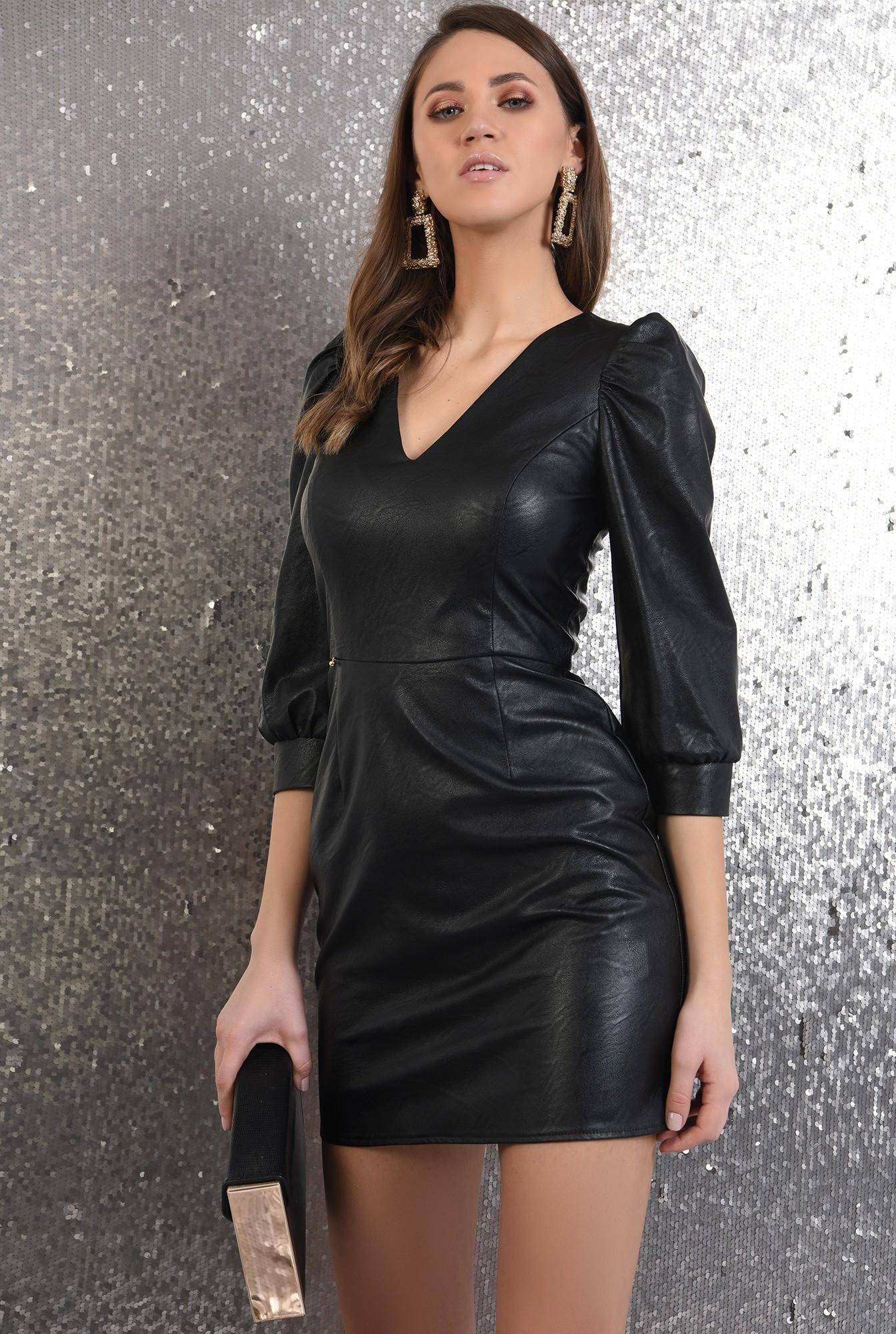 2 - rochie eleganta, din piele, neagra, Poema, maneci bufante