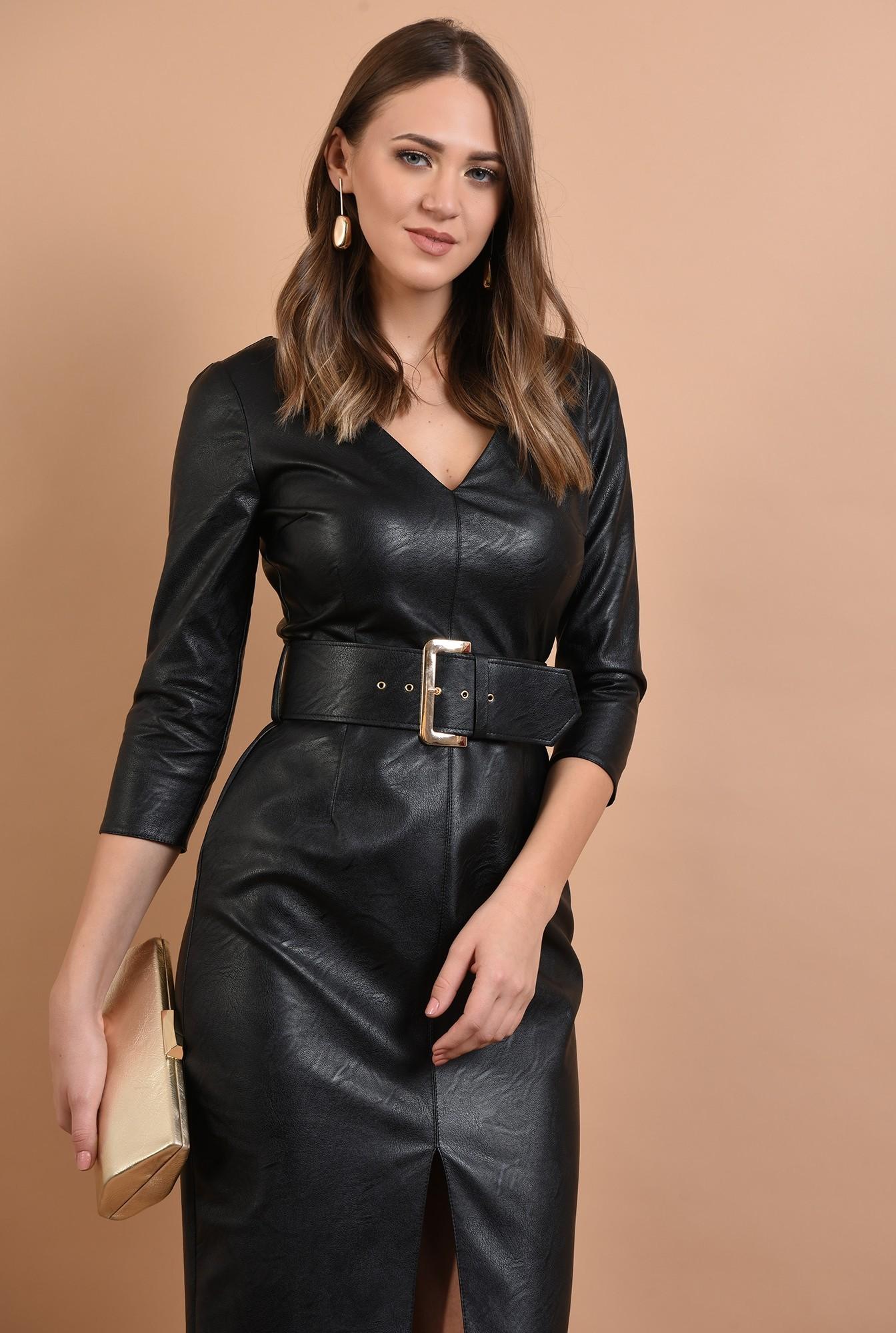 2 - rochie neagra, cambrata, cu centura, anchior, maneci ajustate