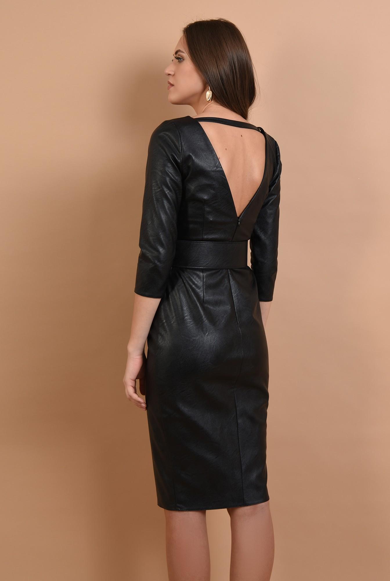 1 - rochie neagra, cambrata, cu centura, anchior, maneci ajustate