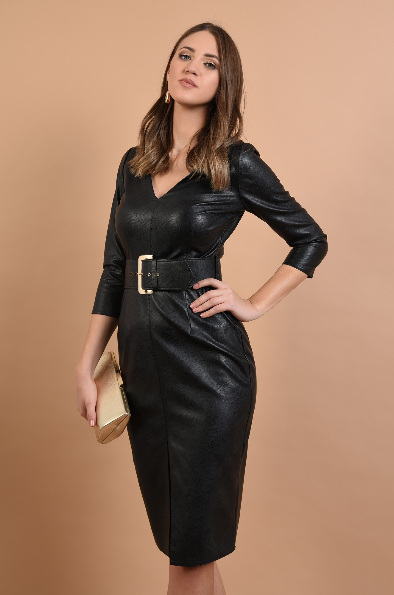 0 - rochie neagra, cambrata, cu centura, anchior, maneci ajustate