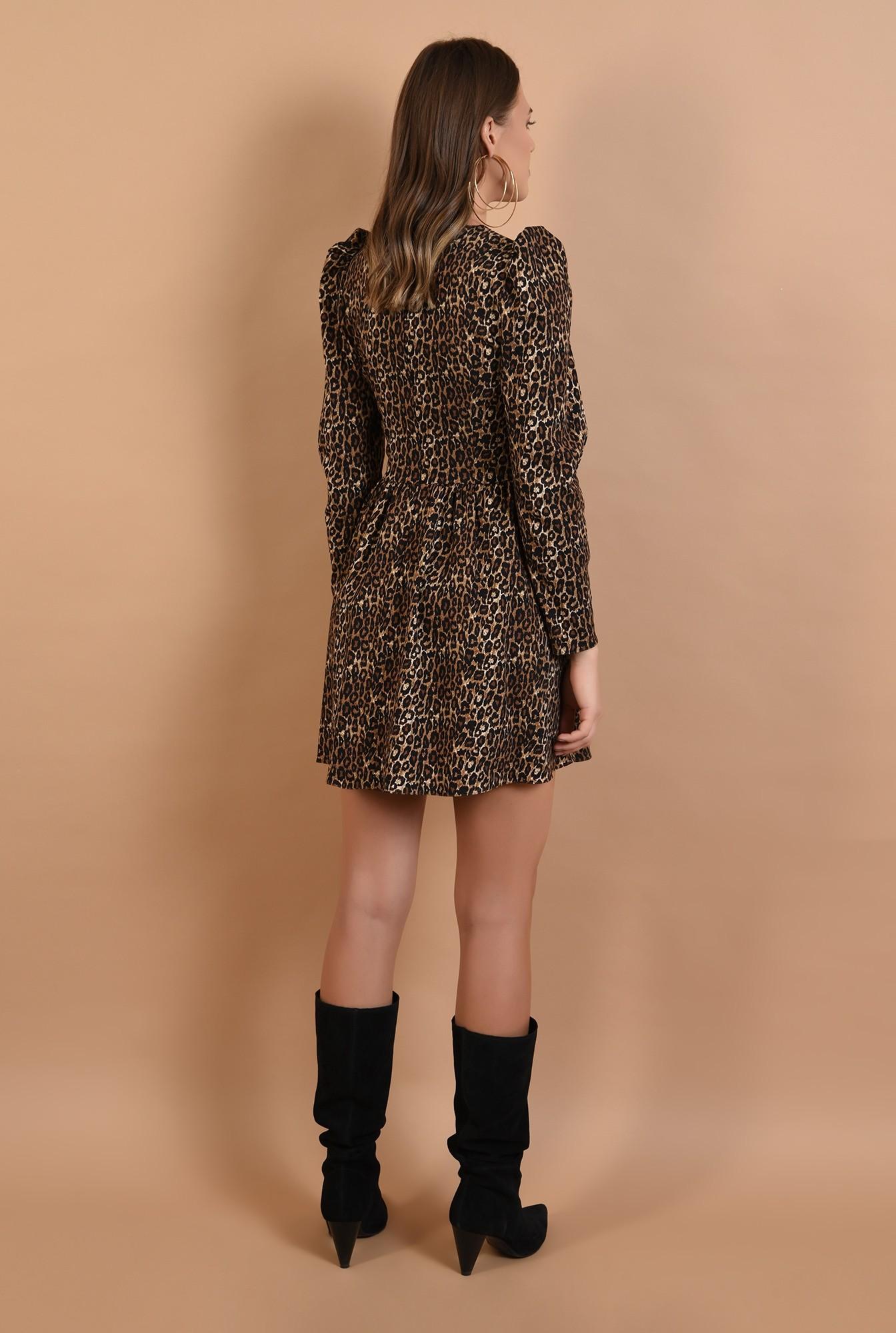 1 - rochie casual, animal print, evazata, bust ajustat, Poema