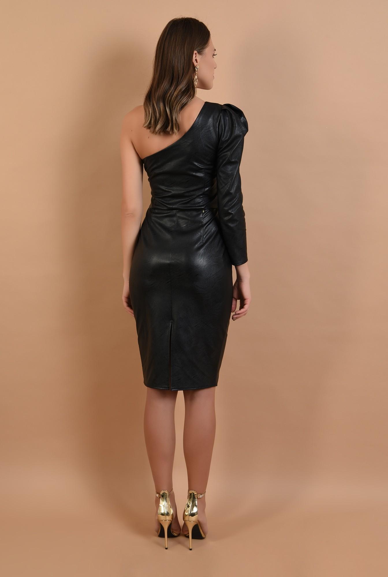 1 - rochie eleganta, piele neagra, maneca drapata, umar gol