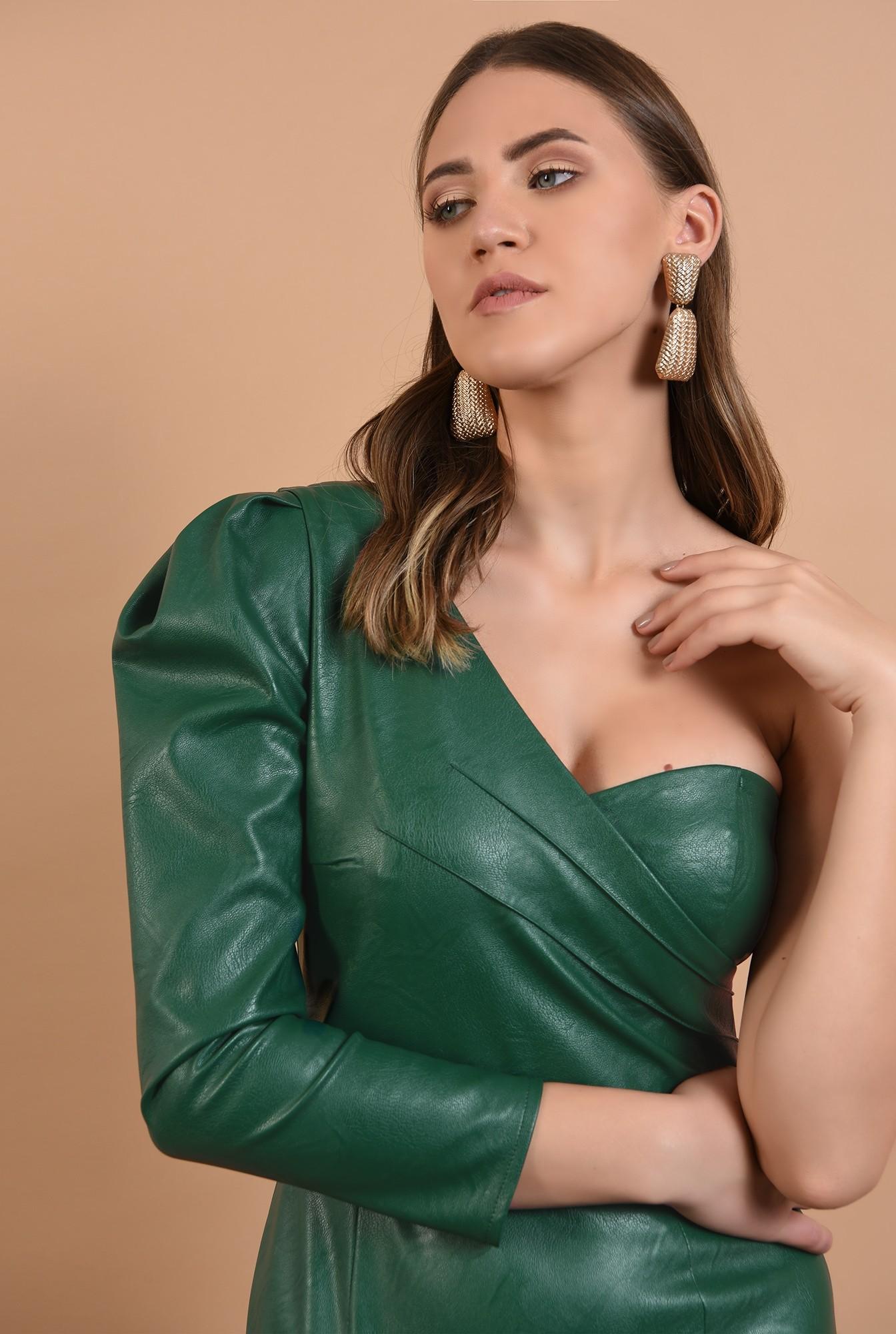 2 - 360 - rochie midi, conica, umar gol, piele ecologica