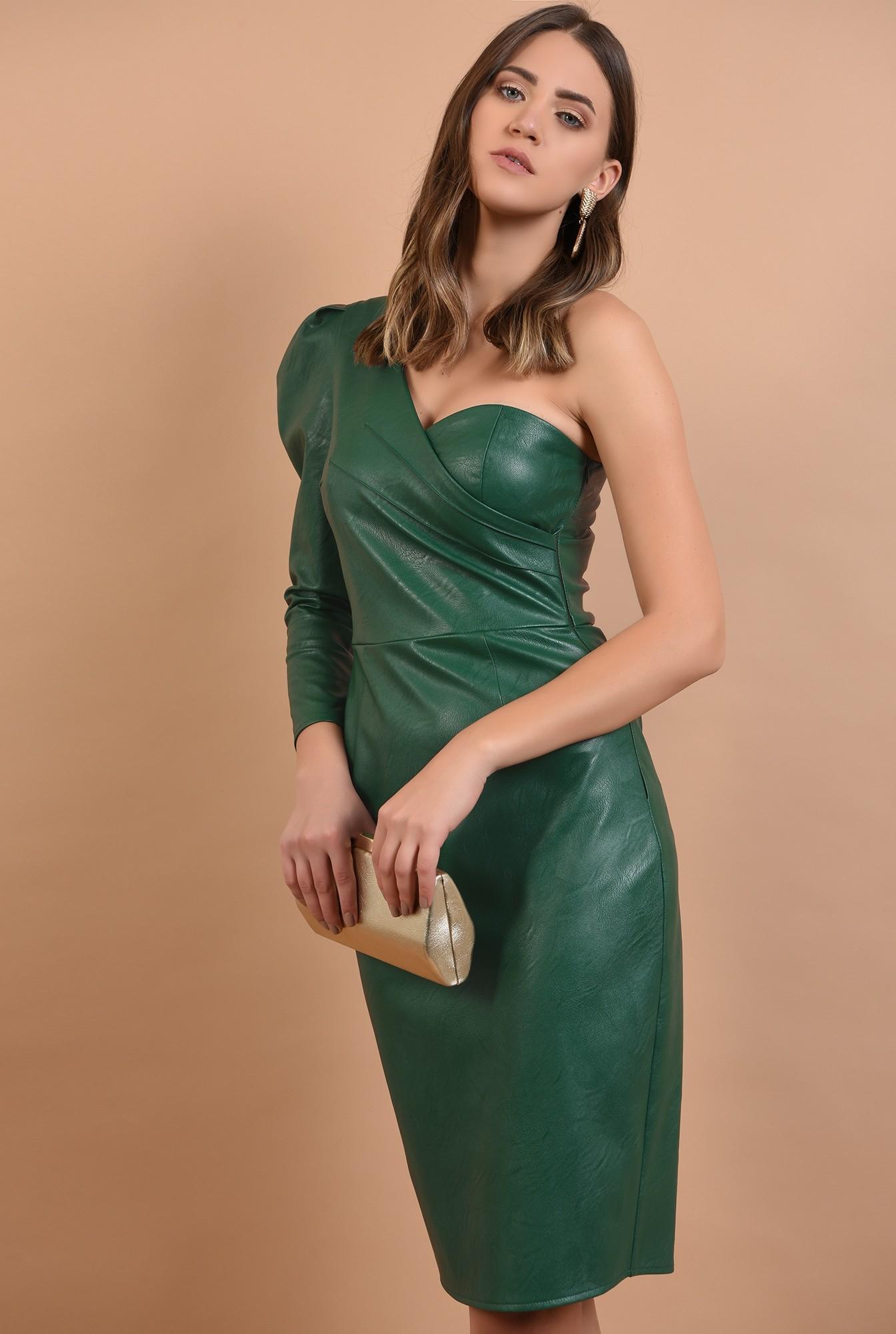 0 - 360 - rochie midi, conica, umar gol, piele ecologica