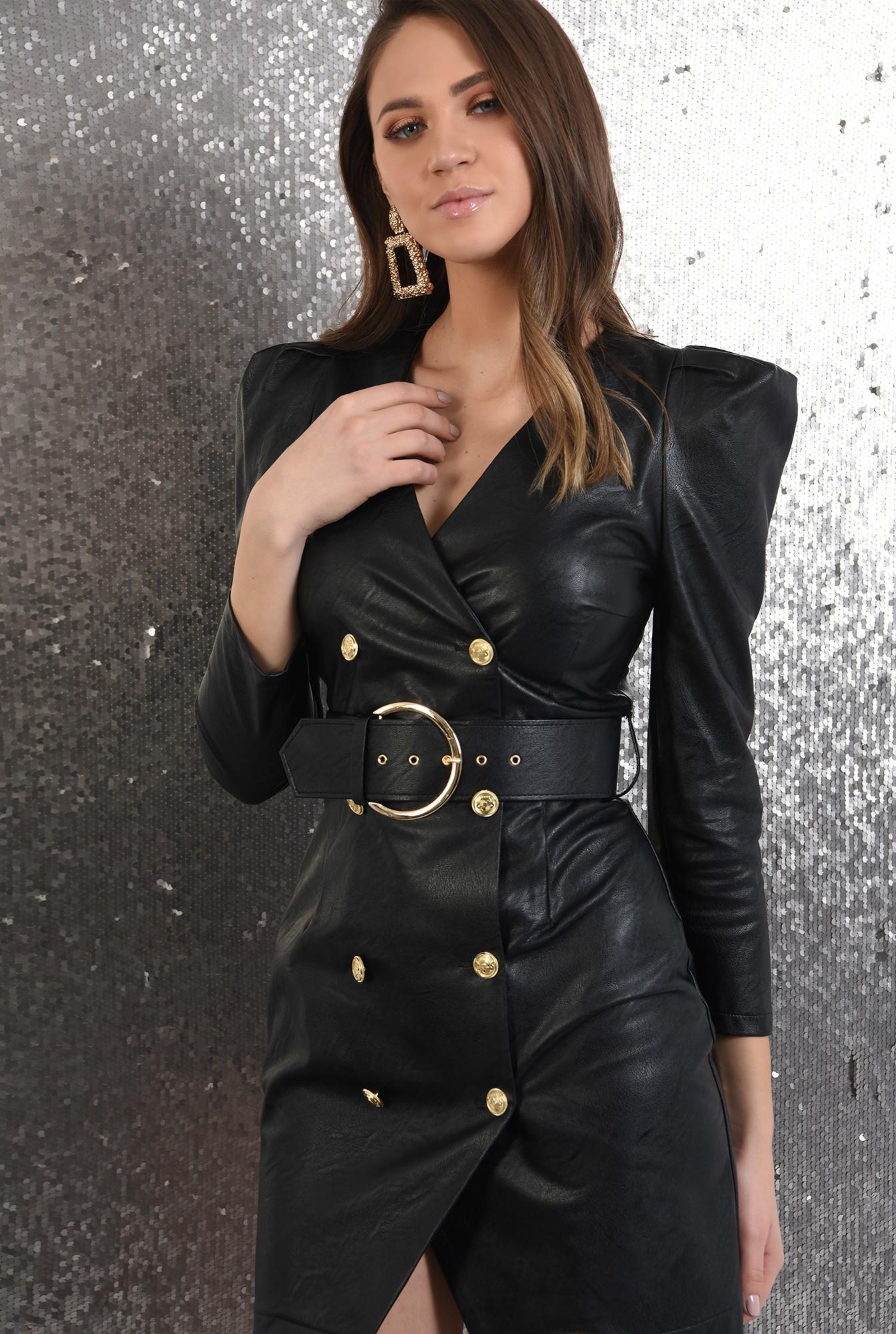 2 - rochie neagra, scurta, cambrata, piele, cu centura