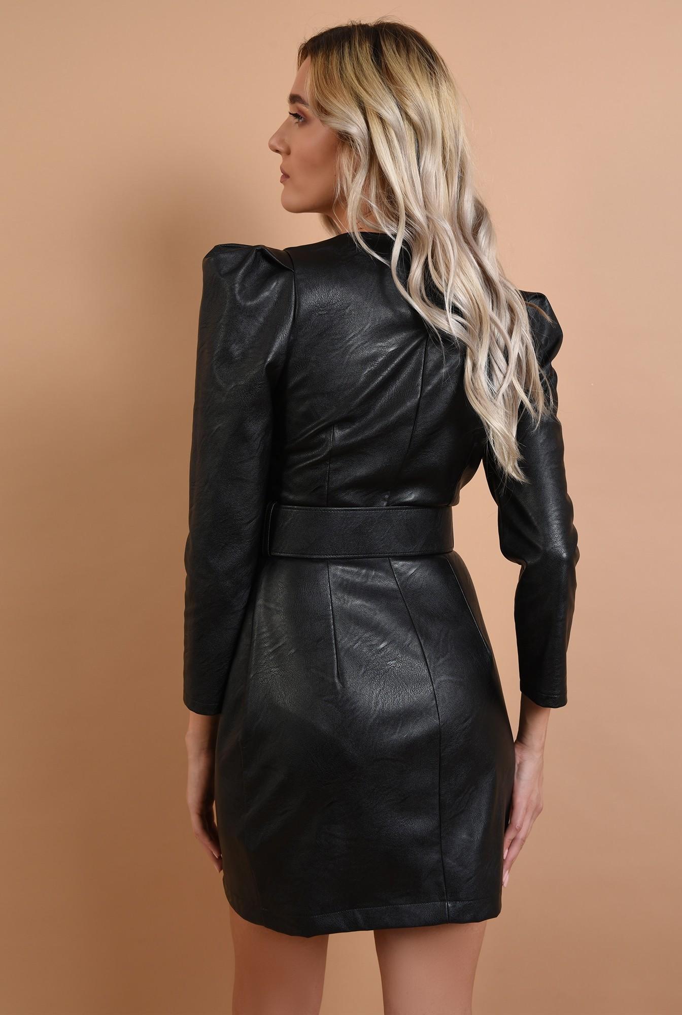 1 - rochie neagra, mini, cu nasturi metalici, curea, Poema