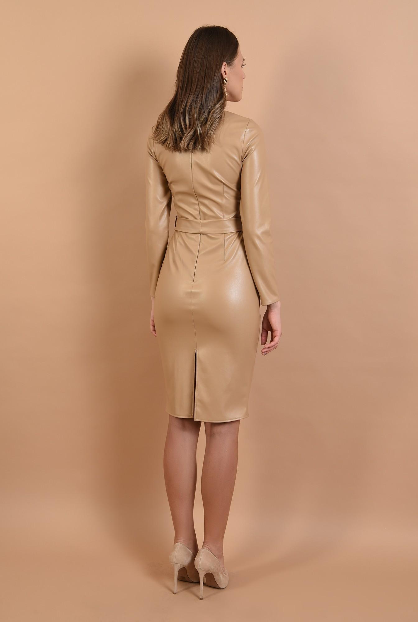 1 - rochie midi, conica, cu cordon, piele eco, nude