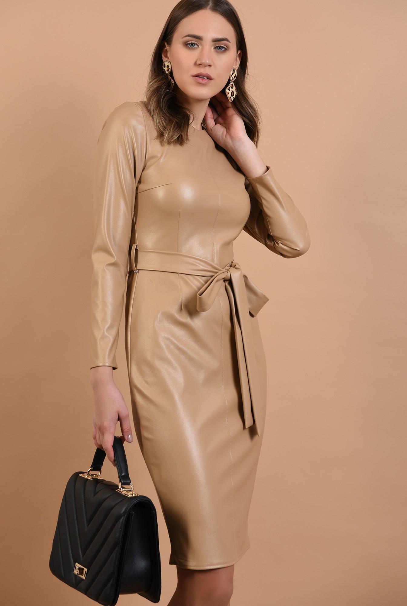 2 - rochie midi, conica, cu cordon, piele eco, nude