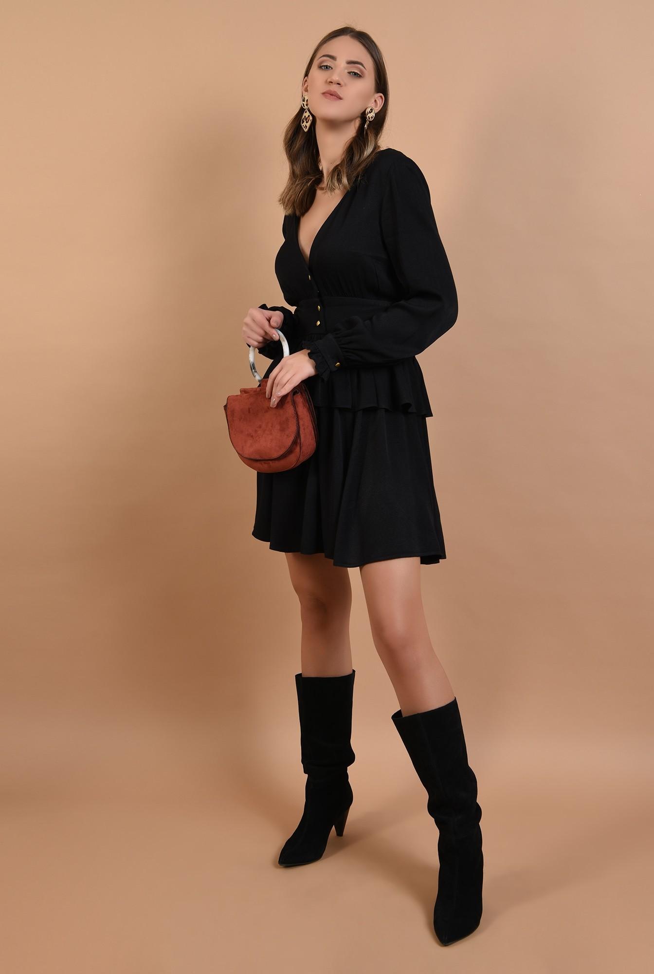 3 - rochie mini, neagra, volan, peplum, nasturi aurii, anchior, Poema