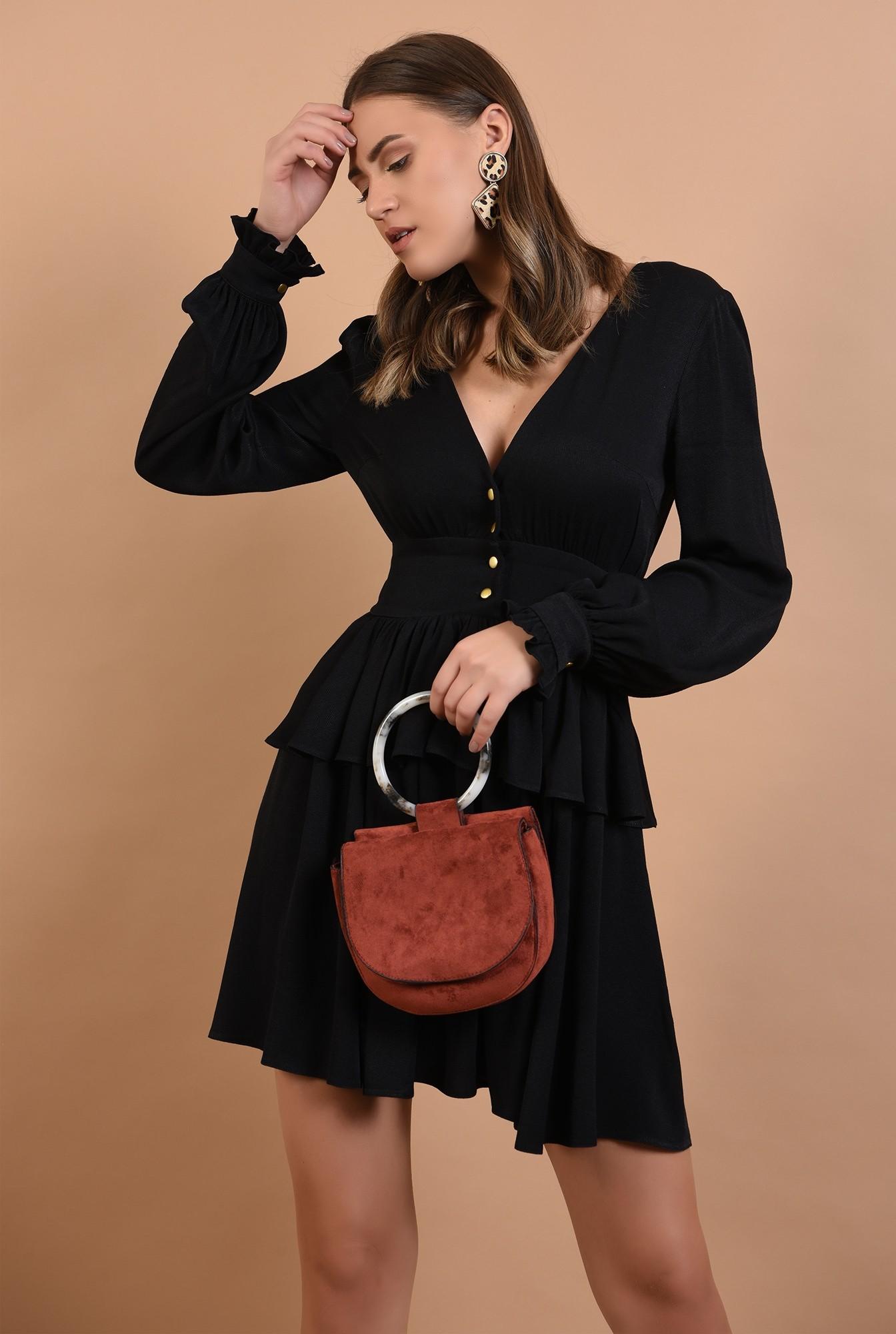 2 - rochie mini, neagra, volan, peplum, nasturi aurii, anchior, Poema