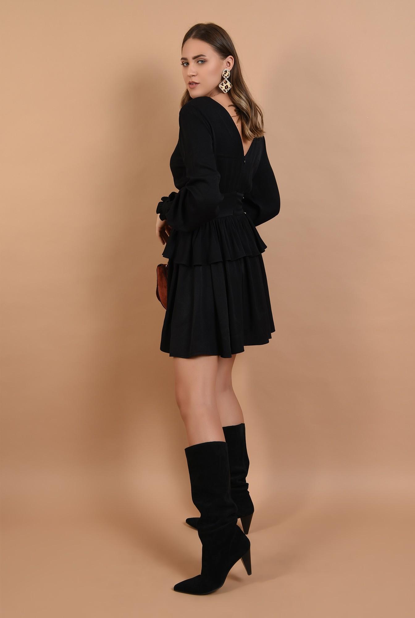 1 - rochie mini, neagra, volan, peplum, nasturi aurii, anchior, Poema
