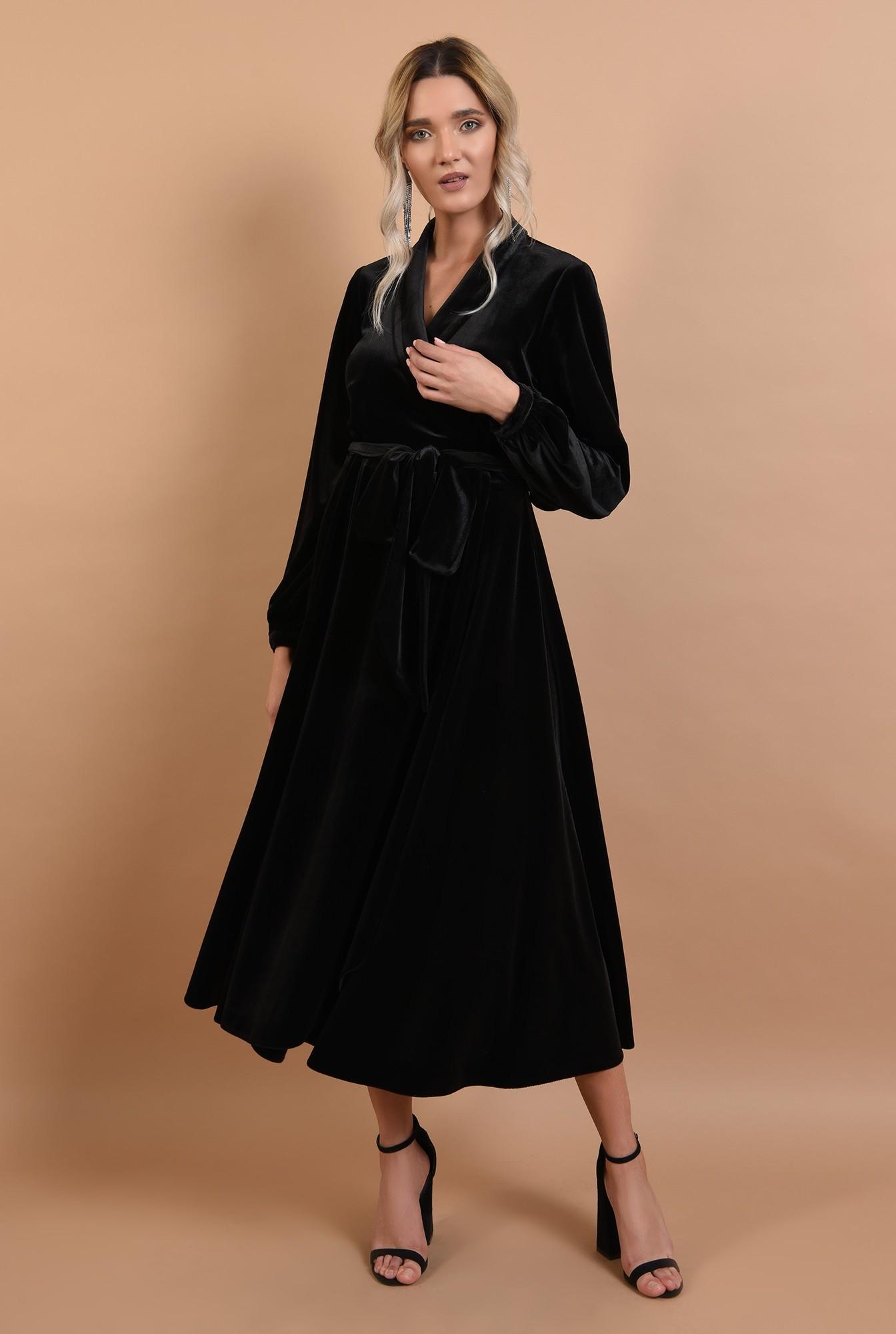 3 - 360 - rochie eleganta, midi, evazata, cu cordon, maneci lungi