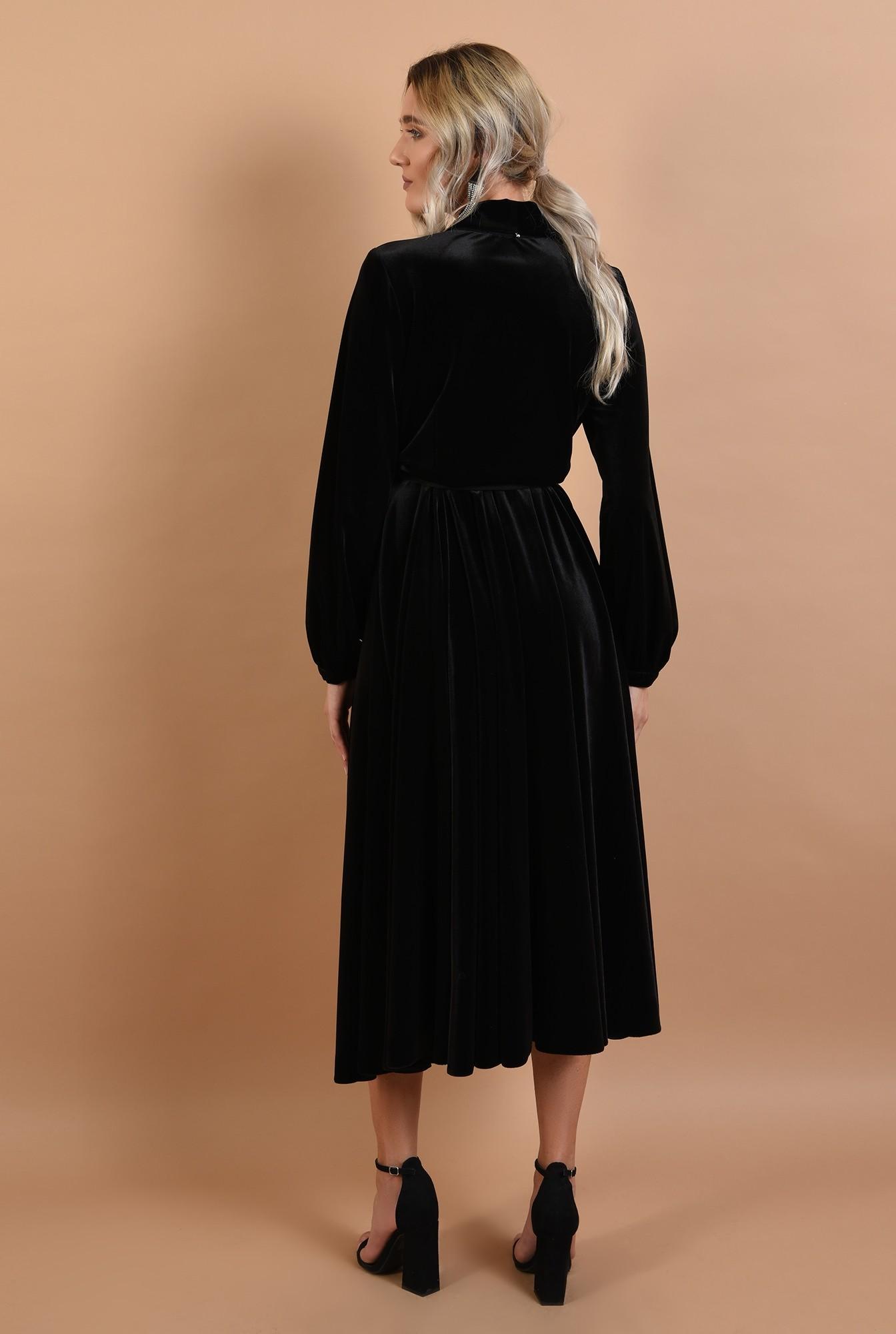 1 - 360 - rochie eleganta, midi, evazata, cu cordon, maneci lungi