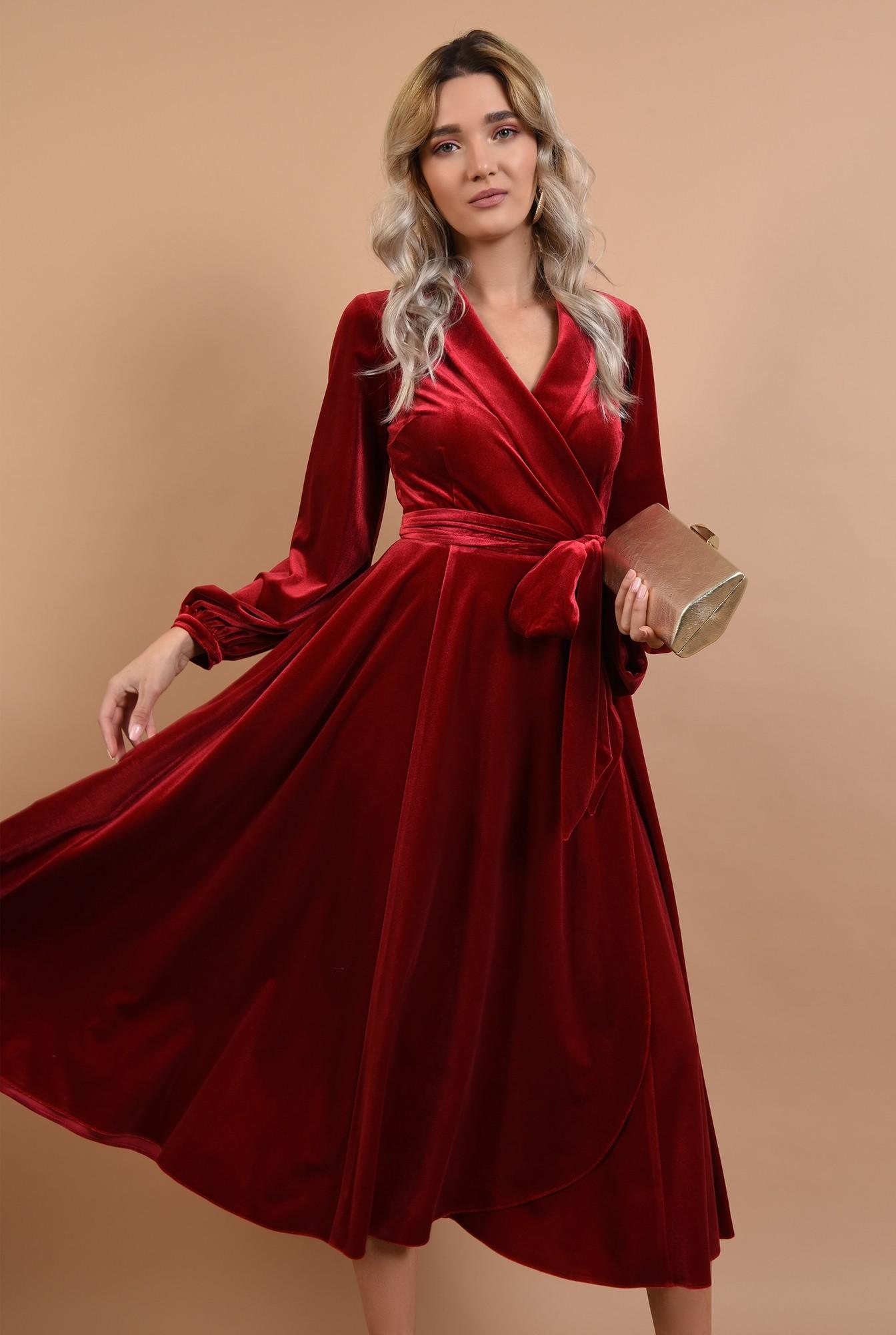 0 - 360 - rochie eleganta, midi, evazata, cu cordon, maneci lungi